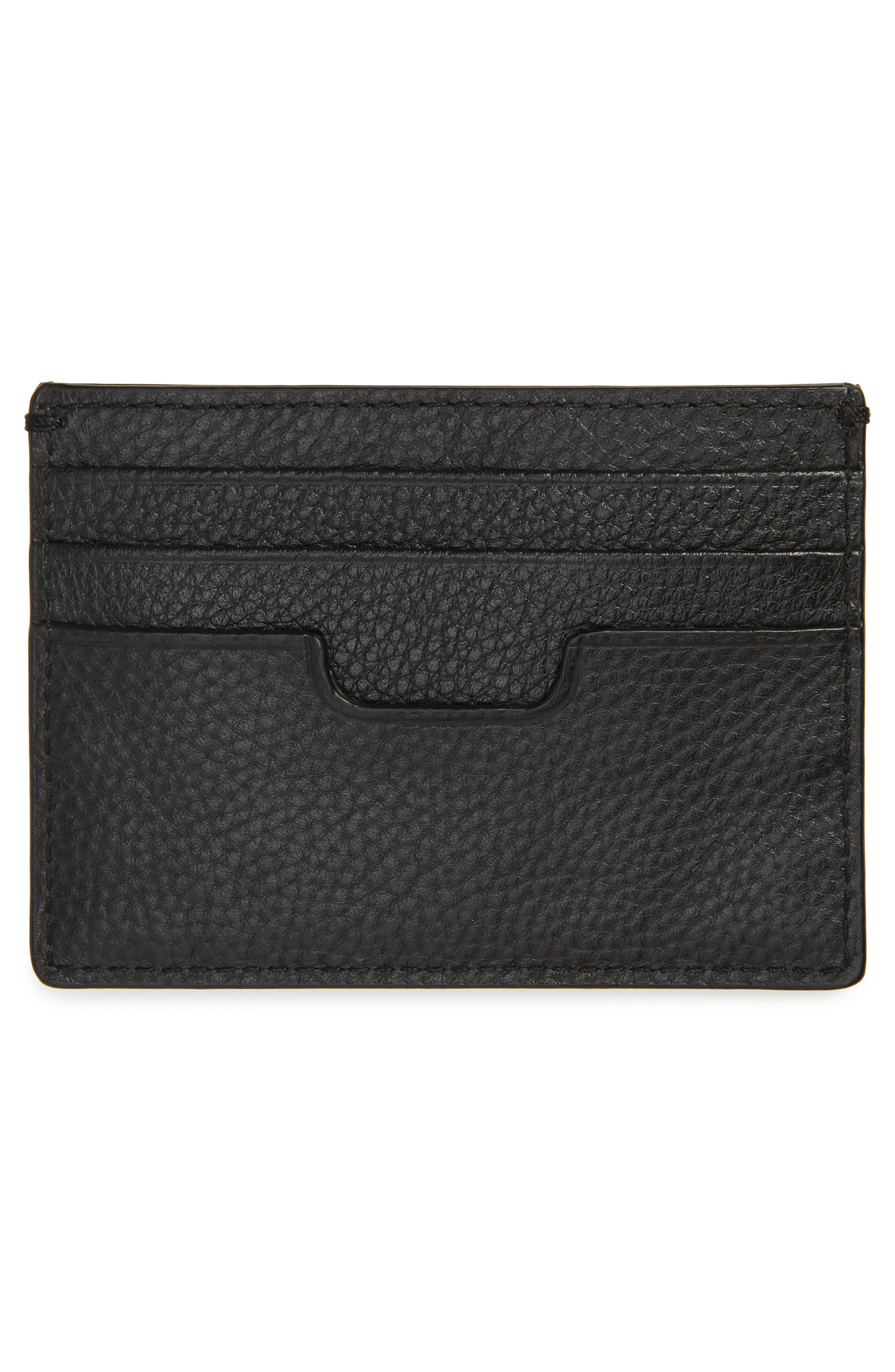 Colby Leather Card Case,                             Alternate thumbnail 2, color,                             BLACK