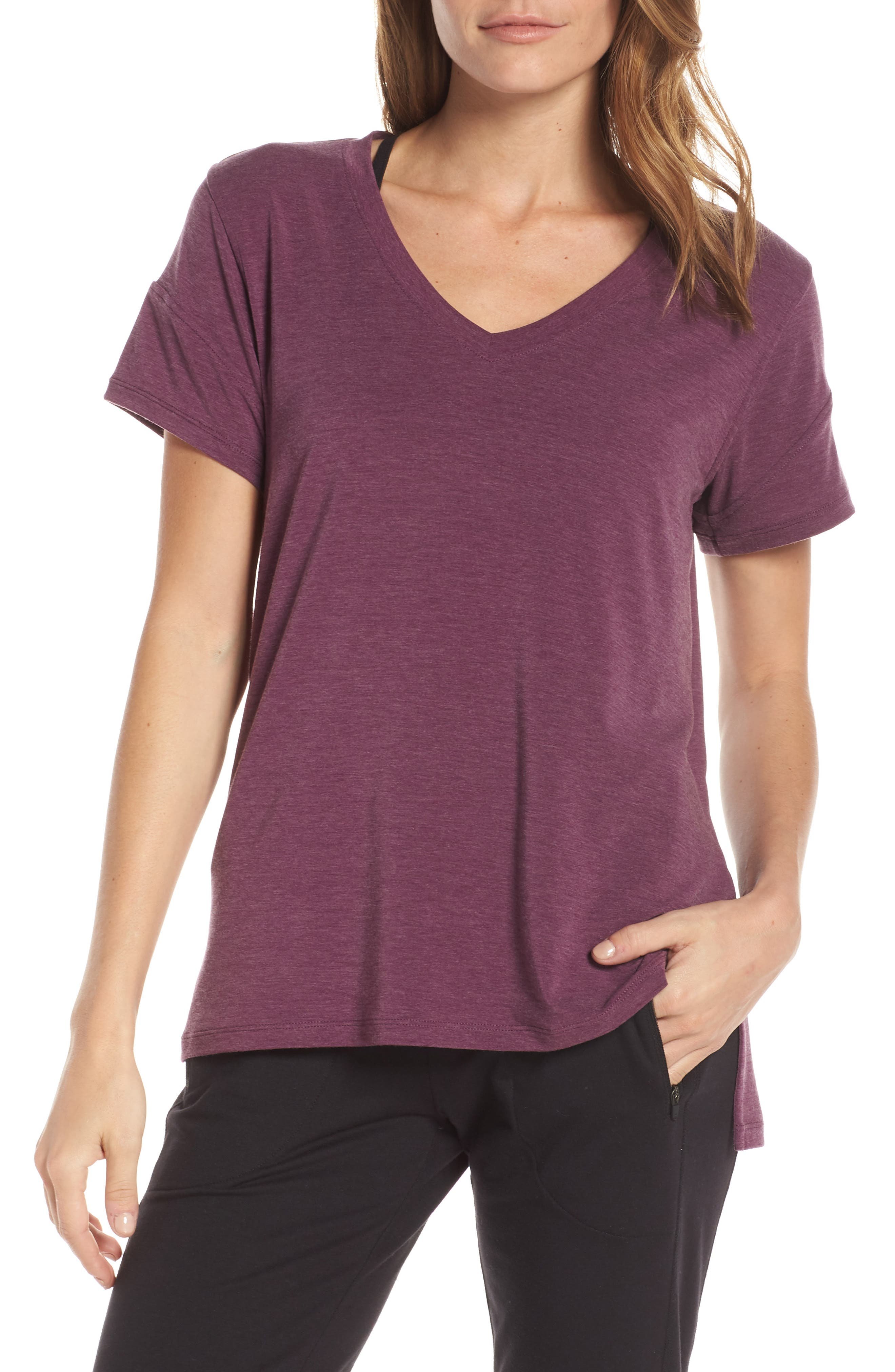 ZELLA,                             Ava Quick-Dry Tee,                             Main thumbnail 1, color,                             PURPLE ODYSSEY