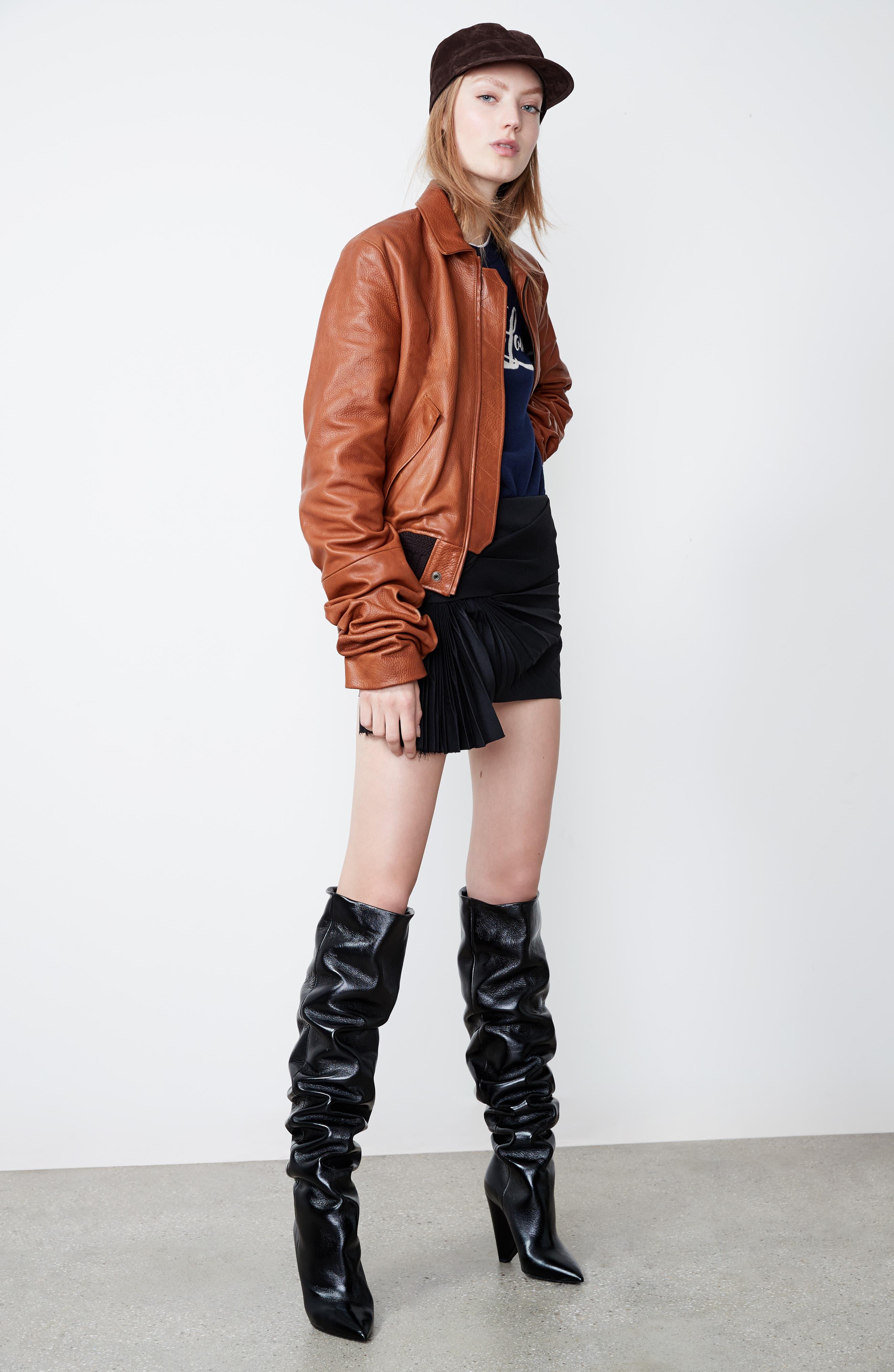 Pleated Wool Gabardine Miniskirt,                             Alternate thumbnail 6, color,                             001