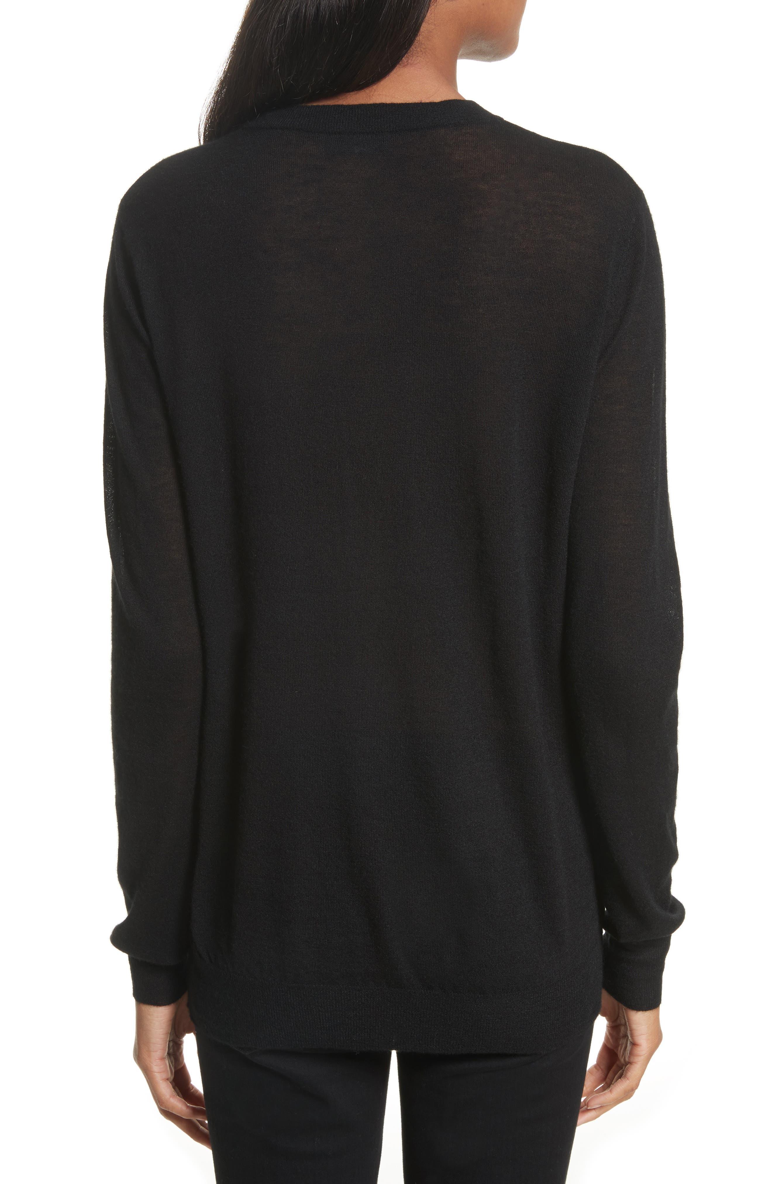 Crewneck Cashmere Sweater,                             Alternate thumbnail 2, color,                             001