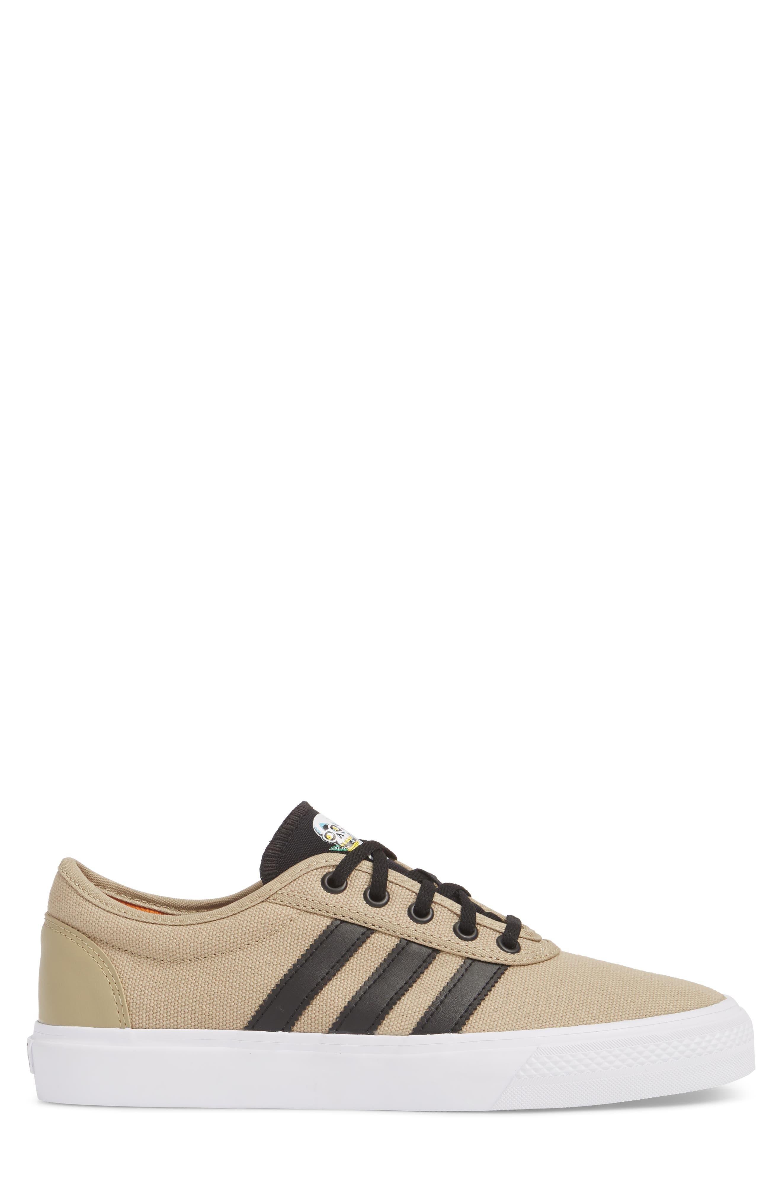 Adiease Premiere Skateboarding Sneaker,                             Alternate thumbnail 3, color,                             GOLD/ CORE BLACK/ WHITE