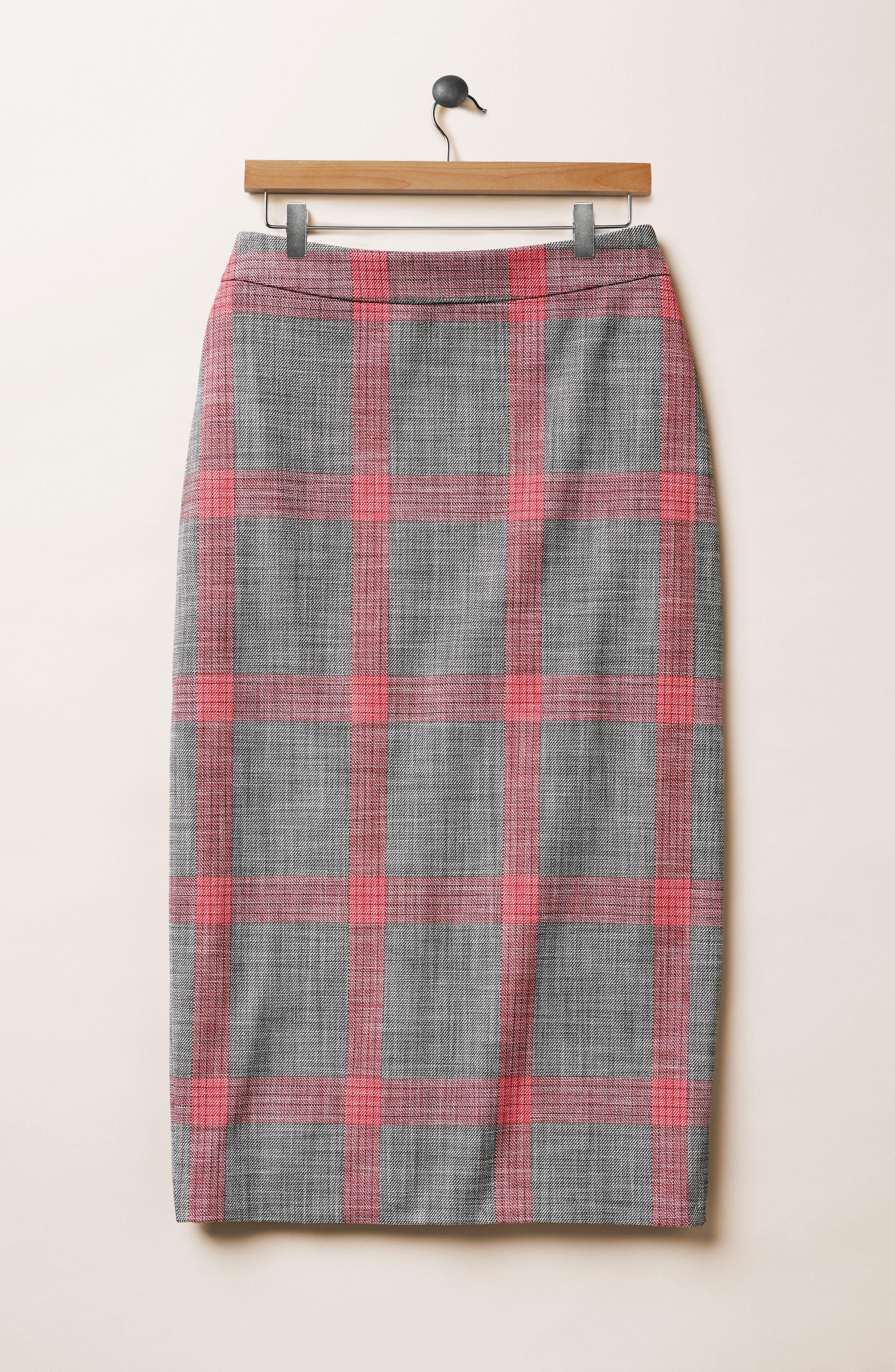 Plaid Pencil Skirt,                             Alternate thumbnail 7, color,                             001