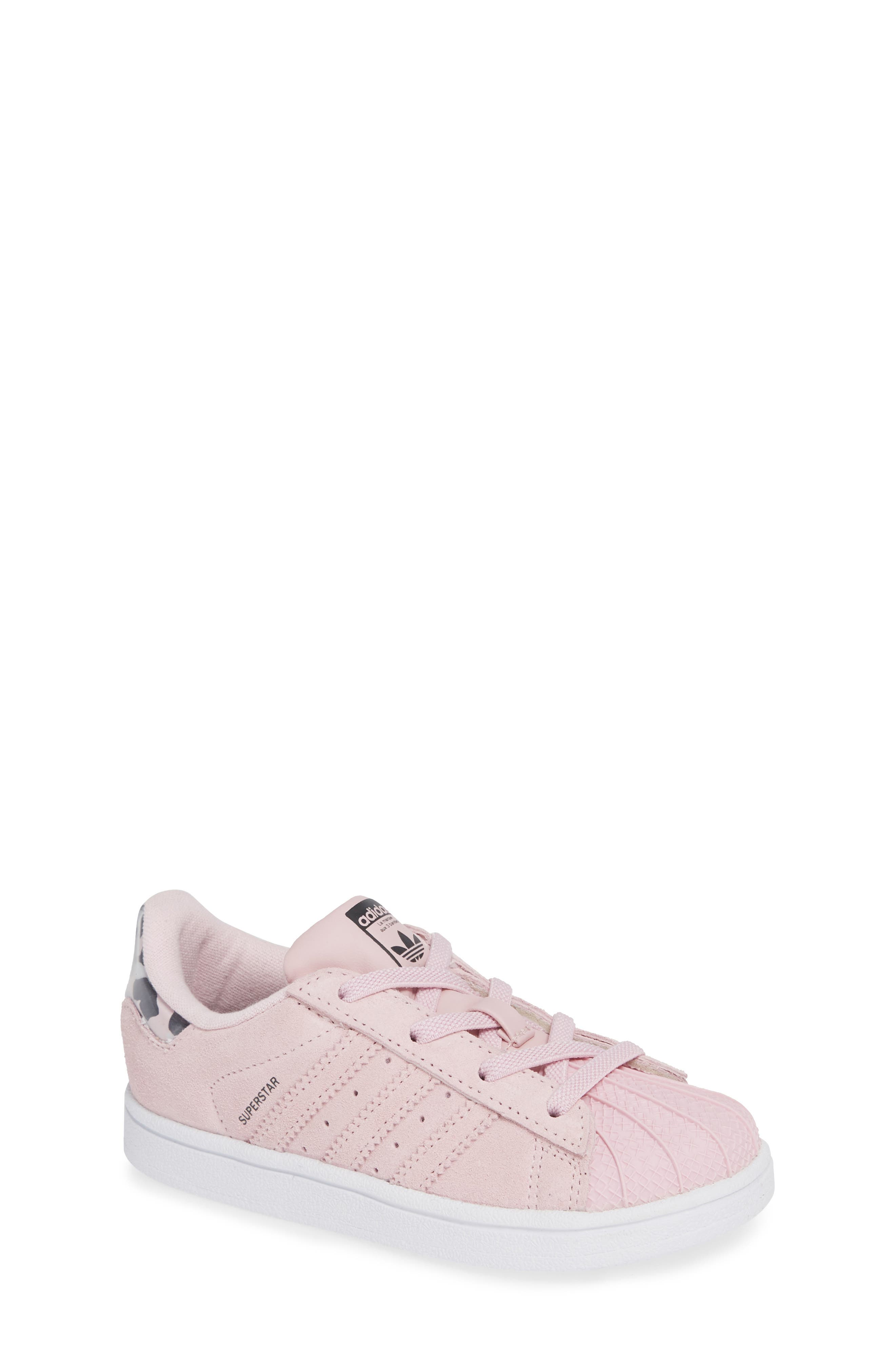 Superstar Low Top Sneaker,                             Main thumbnail 1, color,                             CLEAR PINK/ WHITE
