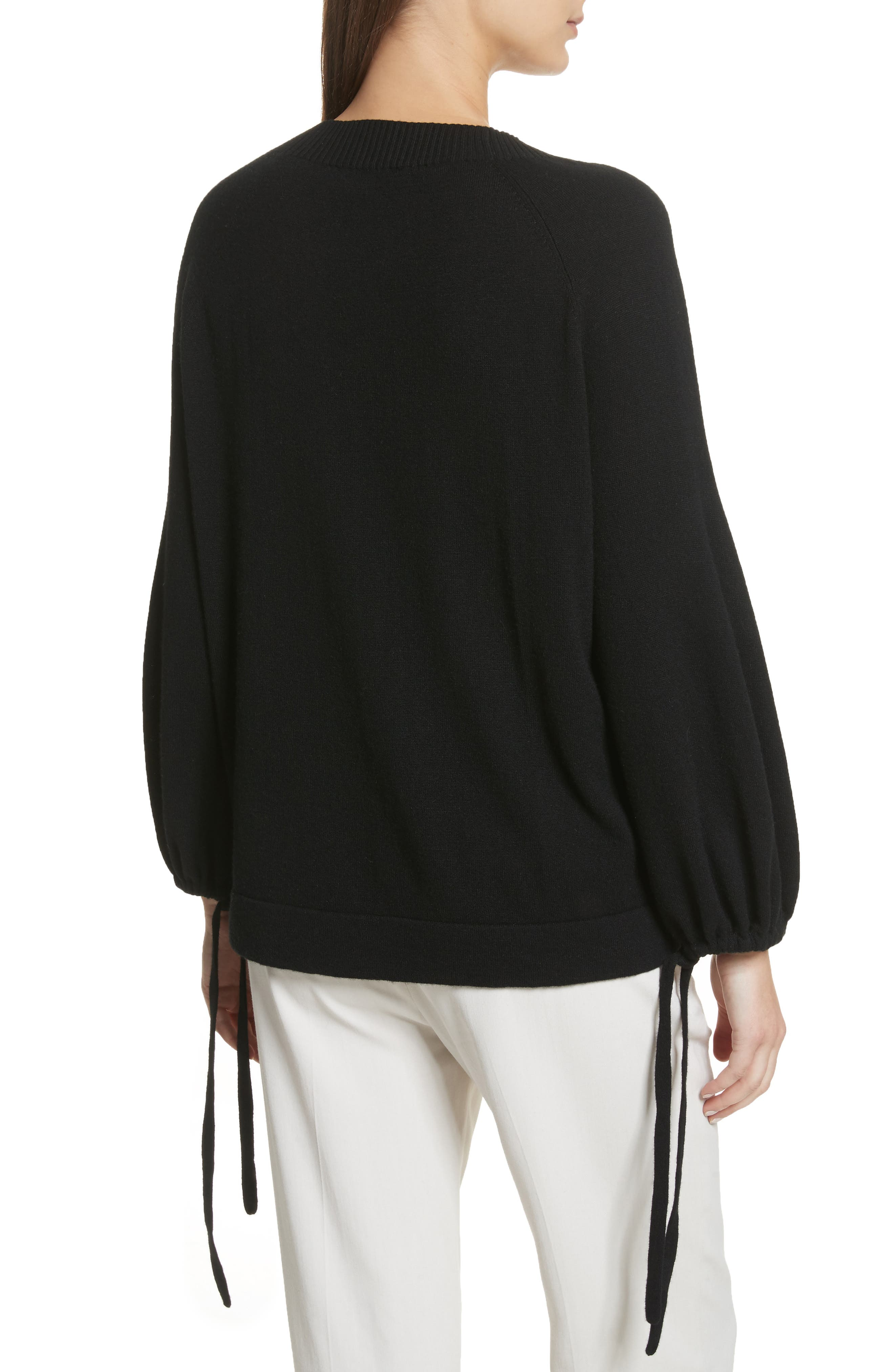 Scrunch Sleeve Cashmere Sweater,                             Alternate thumbnail 3, color,