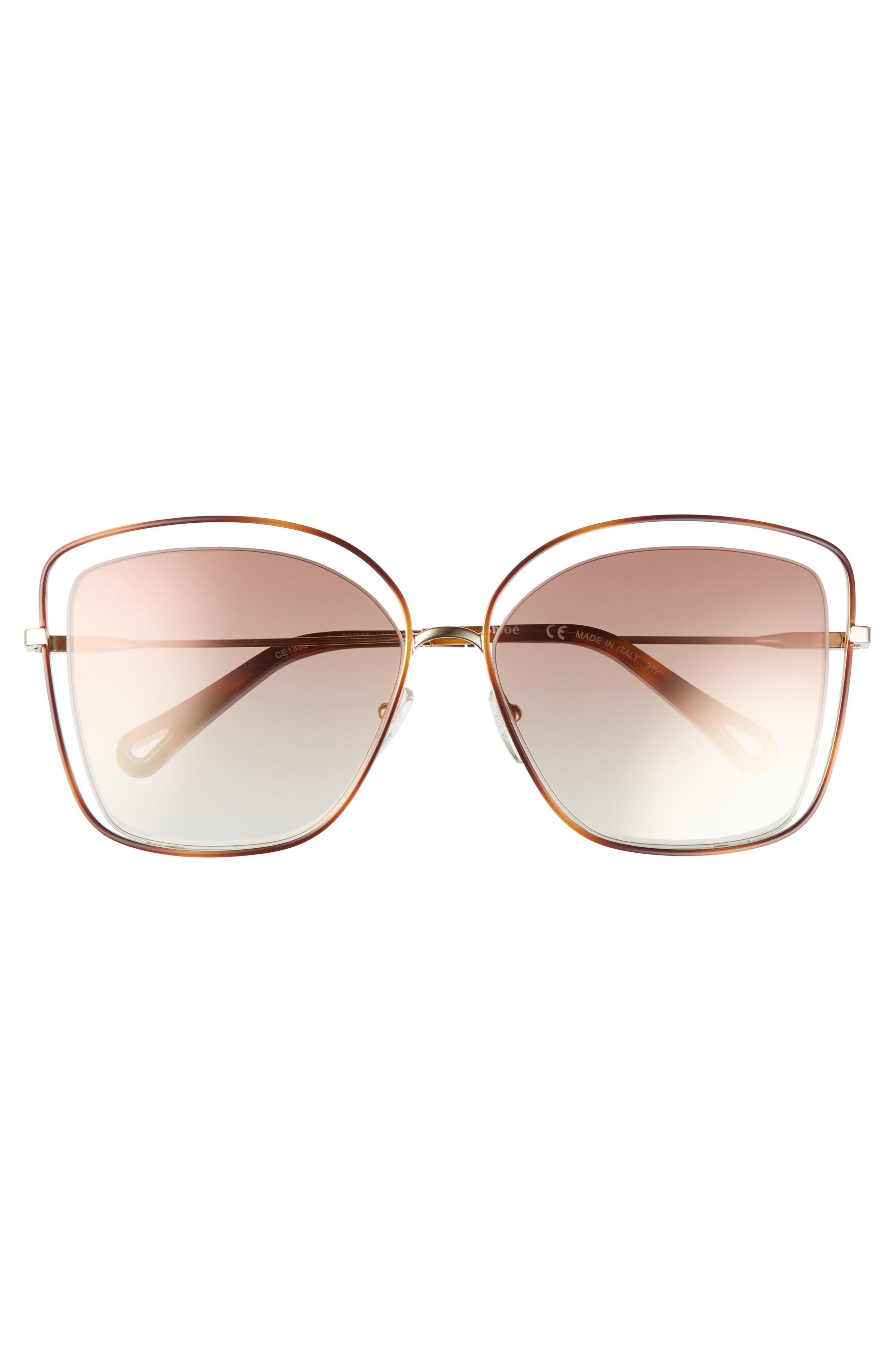 60mm Halo Frame Sunglasses,                             Alternate thumbnail 3, color,                             HAVANA/ BRONZE