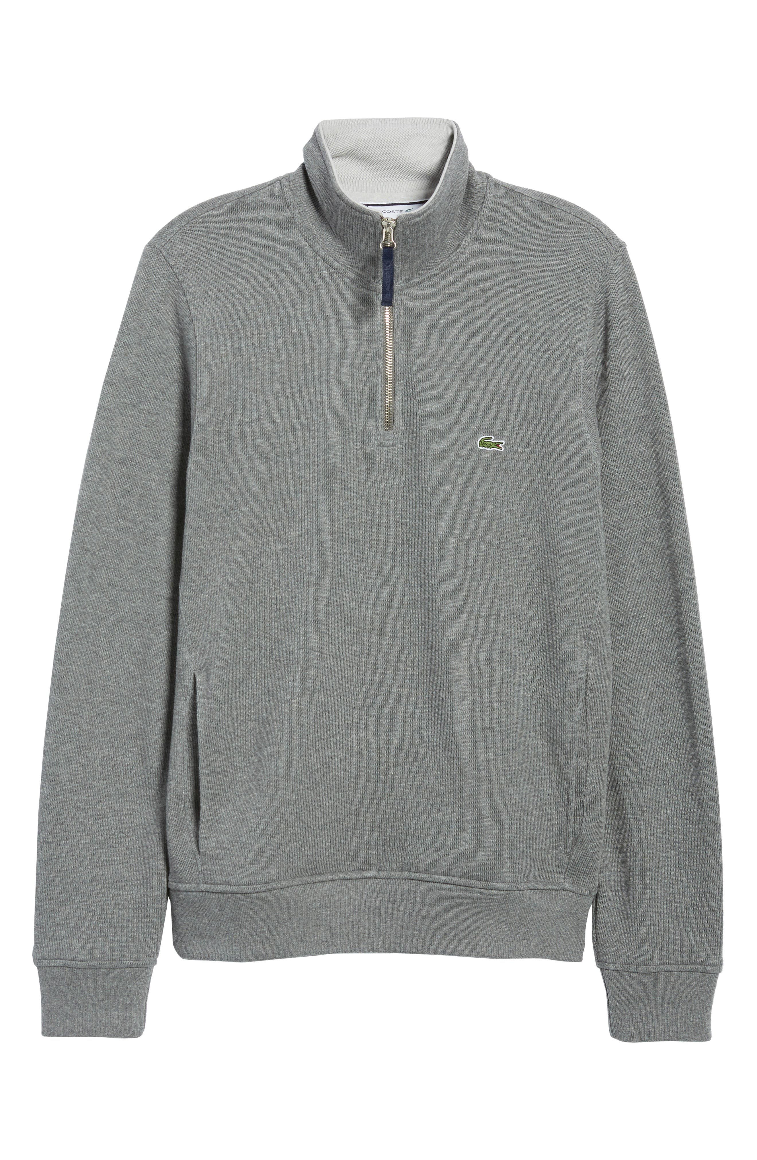 Quarter Zip Cotton Interlock Sweatshirt,                             Alternate thumbnail 6, color,                             GALAXITE CHINE/ NIMBUS