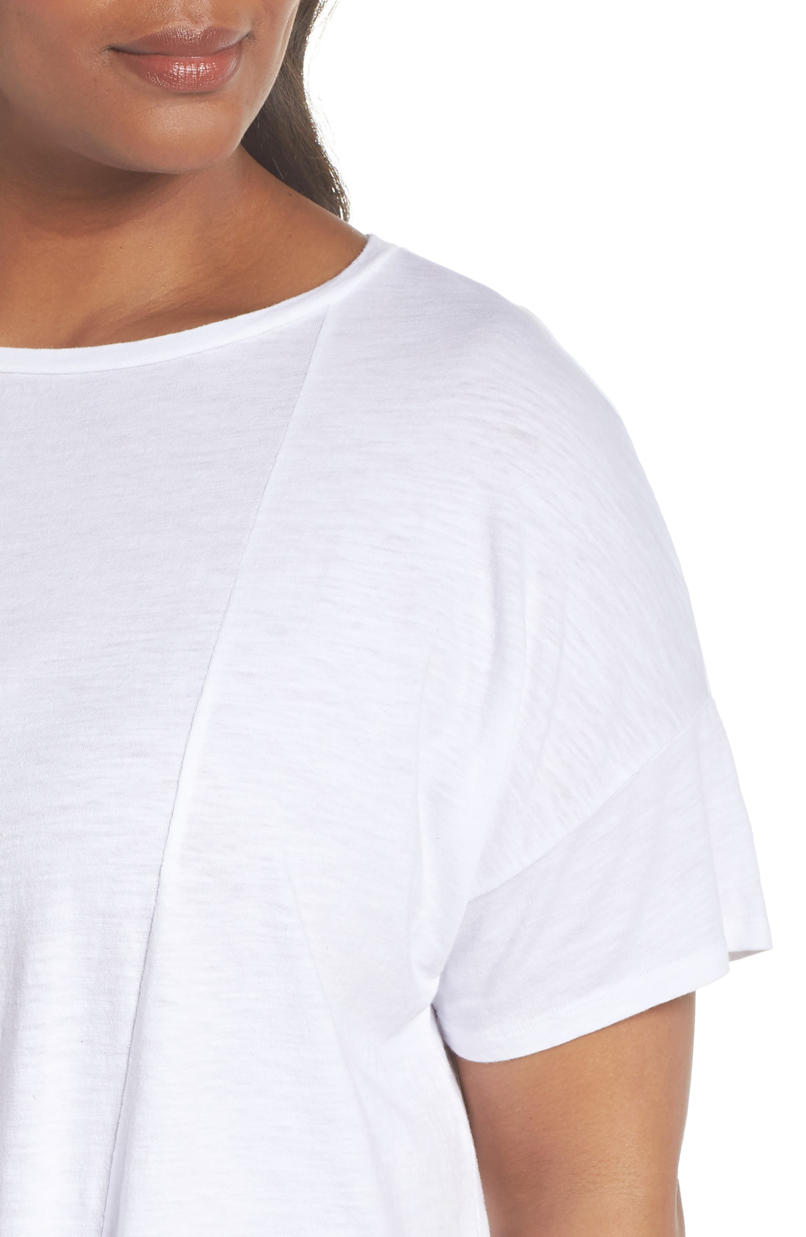 Tie Hem Organic Cotton Tee,                             Alternate thumbnail 4, color,                             100