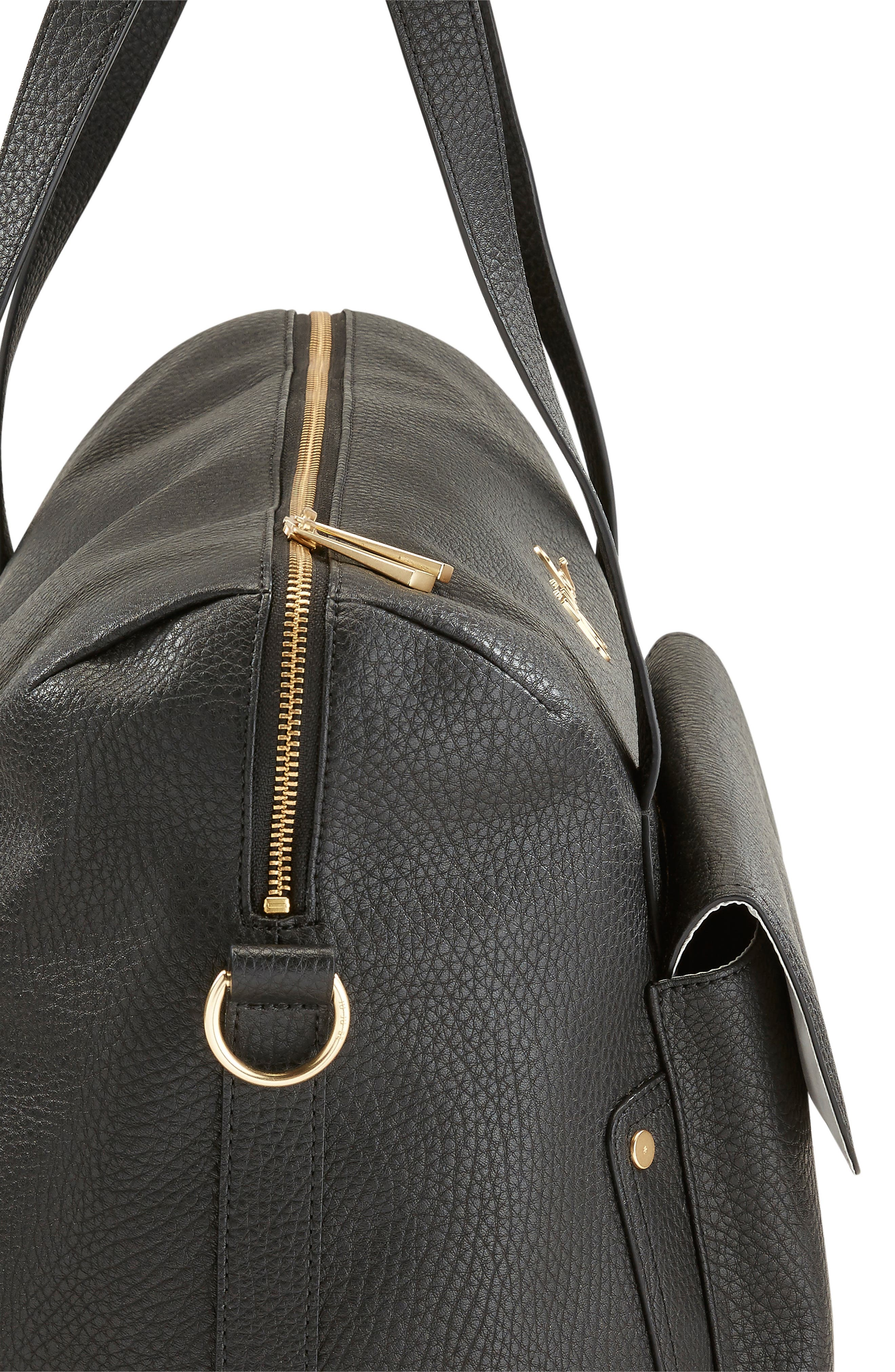 Ever Collection Wherever Faux Leather Weekend Diaper Bag,                             Alternate thumbnail 4, color,                             NOIR