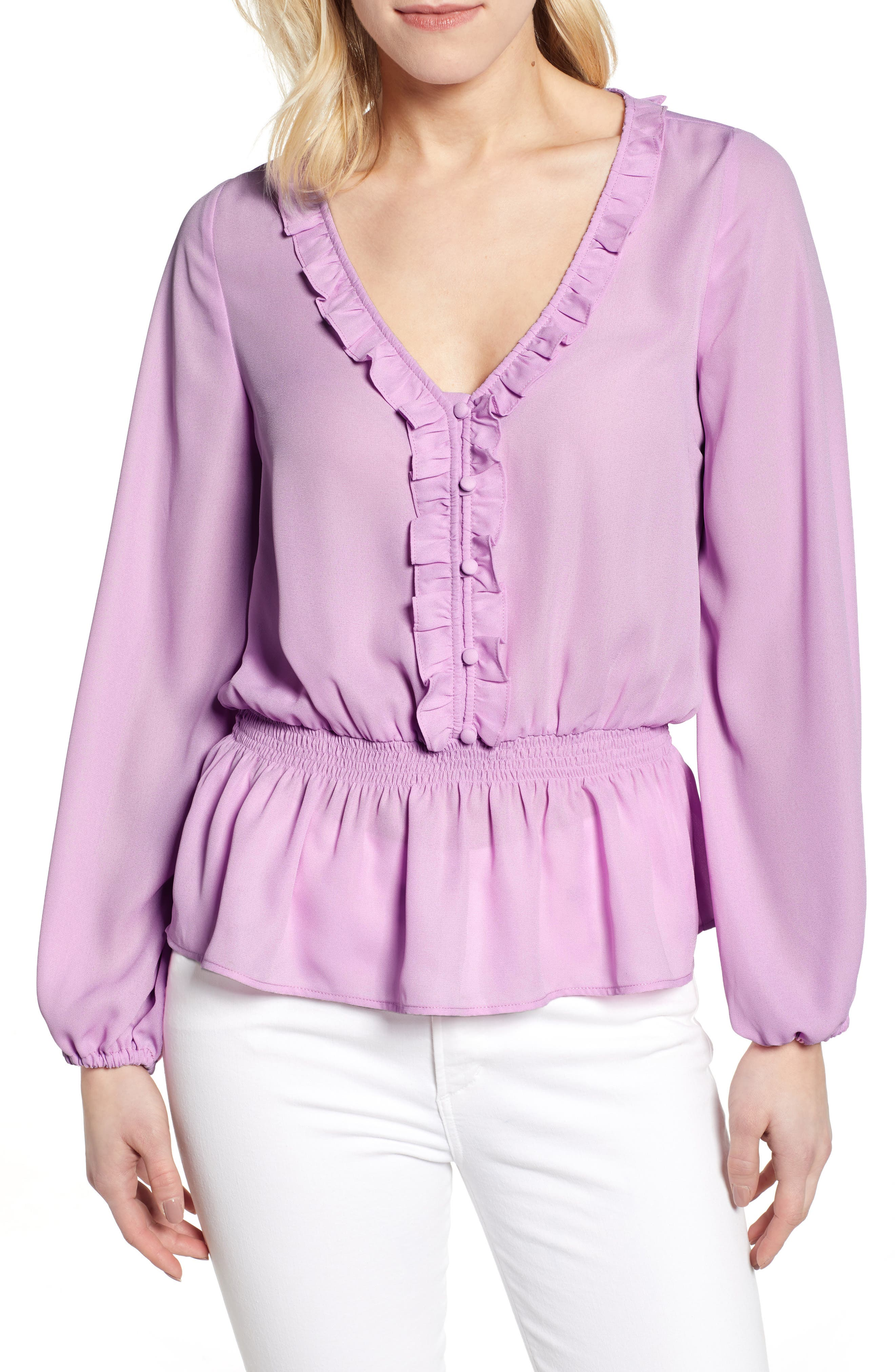 GIBSON x International Women's Day Roselyn Ruffle Detail Smock Waist Blouse, Main, color, LAVENDER LILY