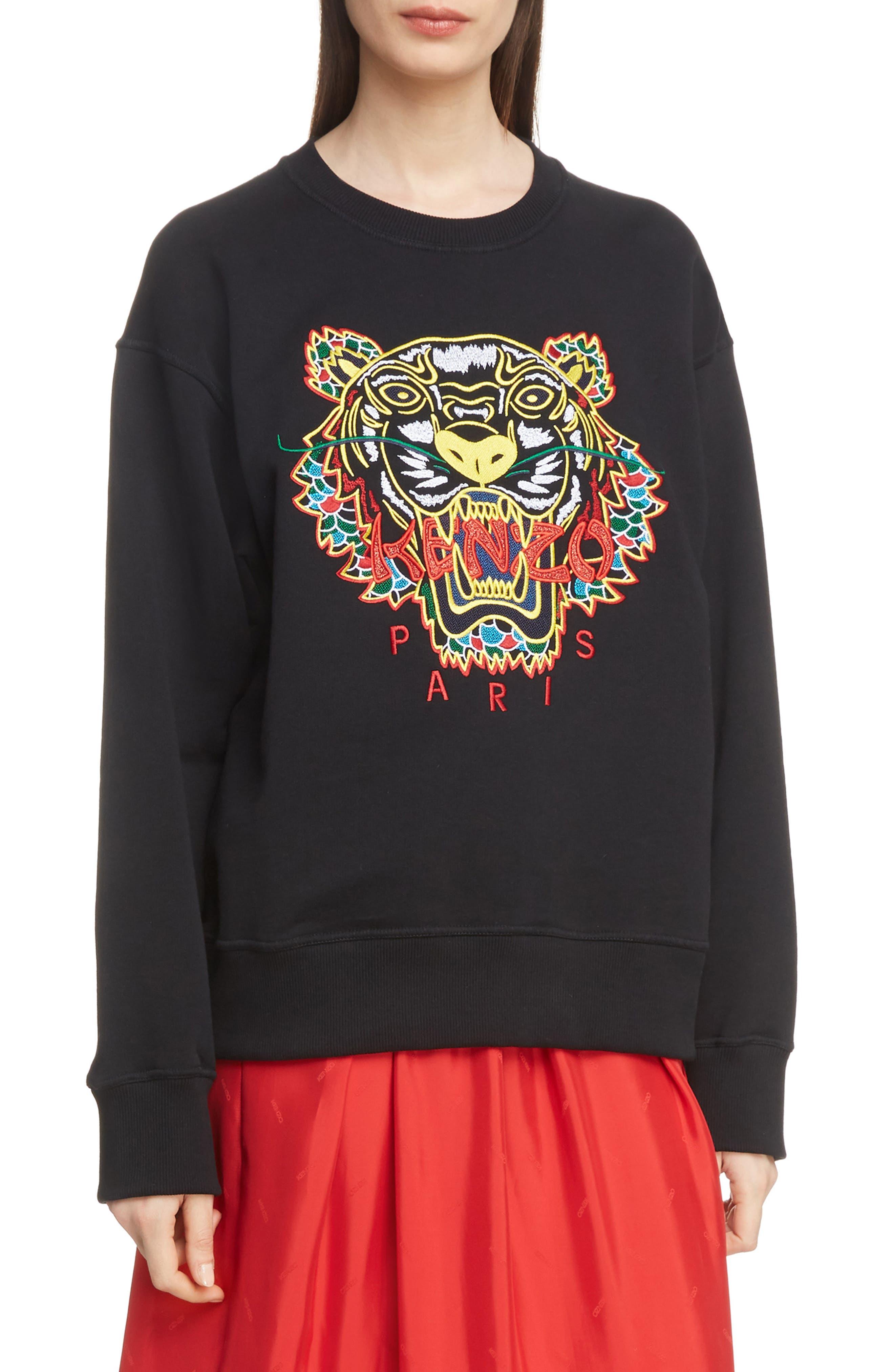 Tiger Relax Sweatshirt,                             Main thumbnail 1, color,                             BLACK