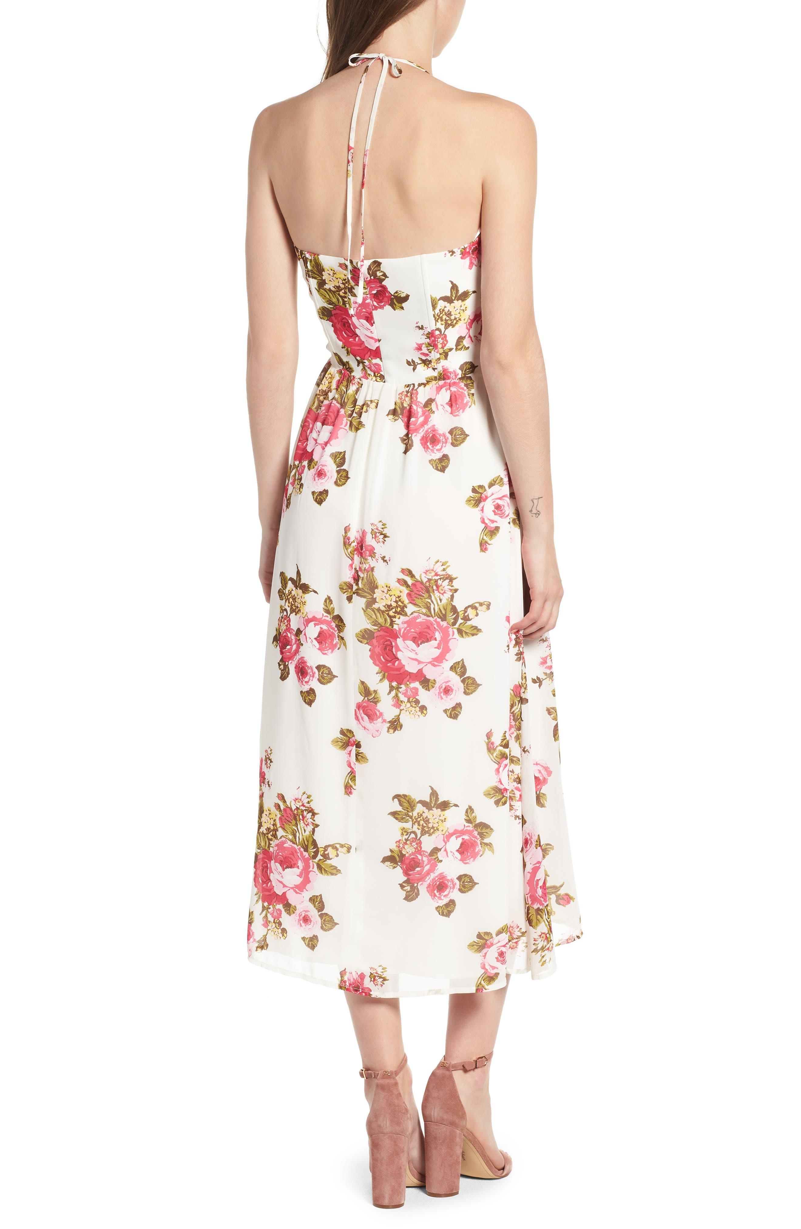 Floral Print Halter Midi Dress,                             Alternate thumbnail 2, color,                             900