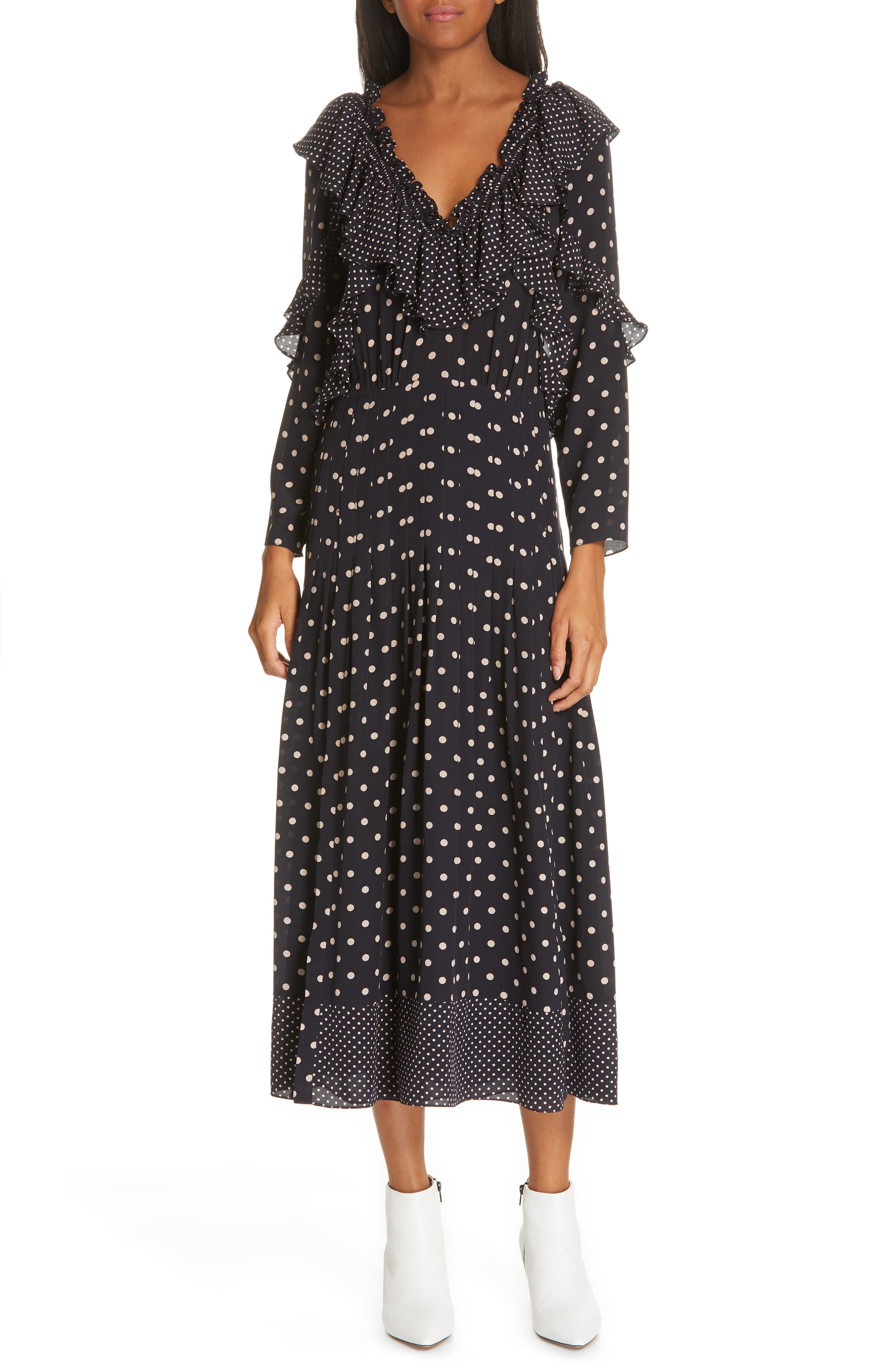 Rebecca Taylor Dot Print Silk Midi Dress, Blue