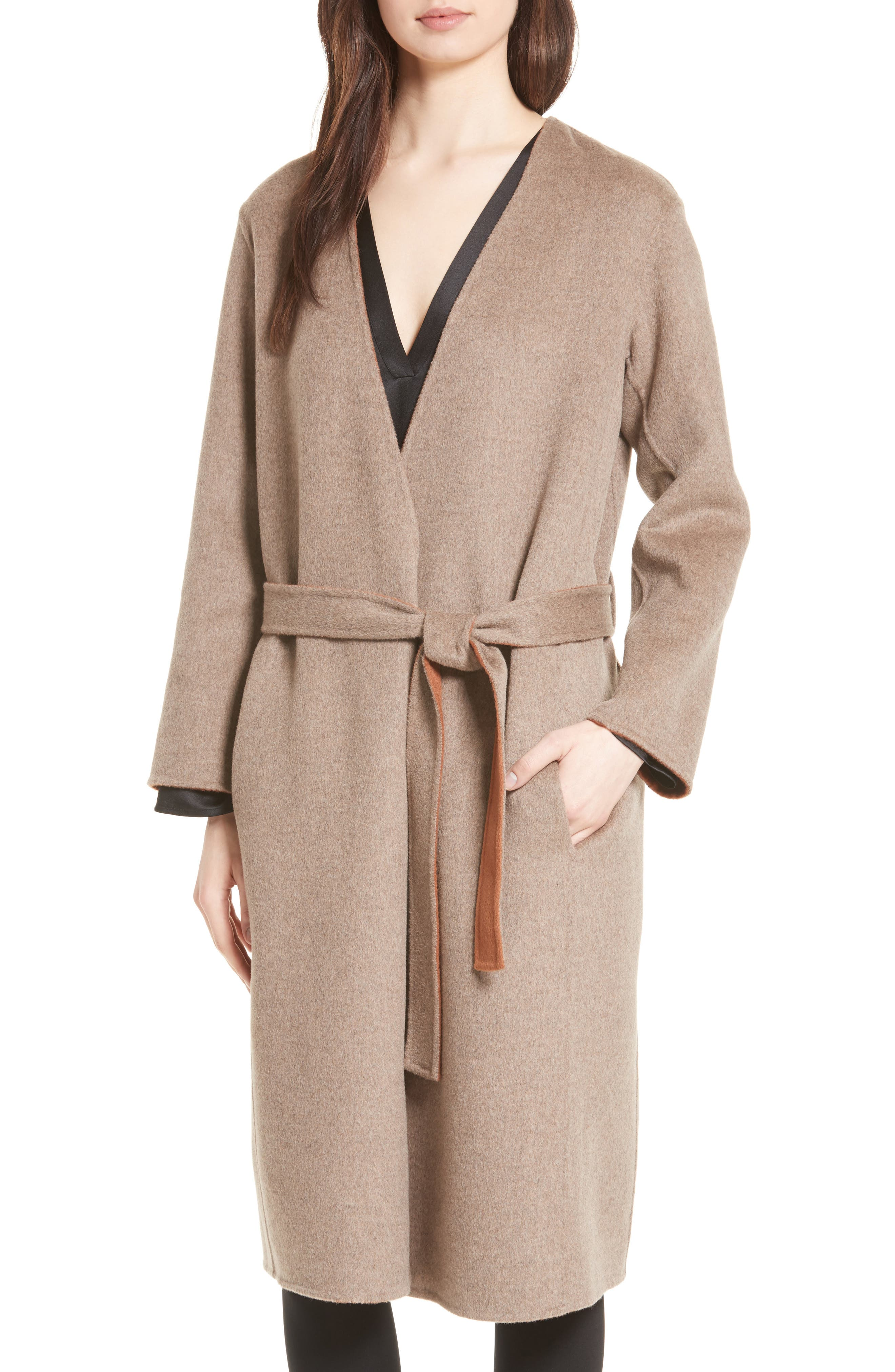 Reversible Wool & Cashmere Belted Coat,                             Alternate thumbnail 4, color,
