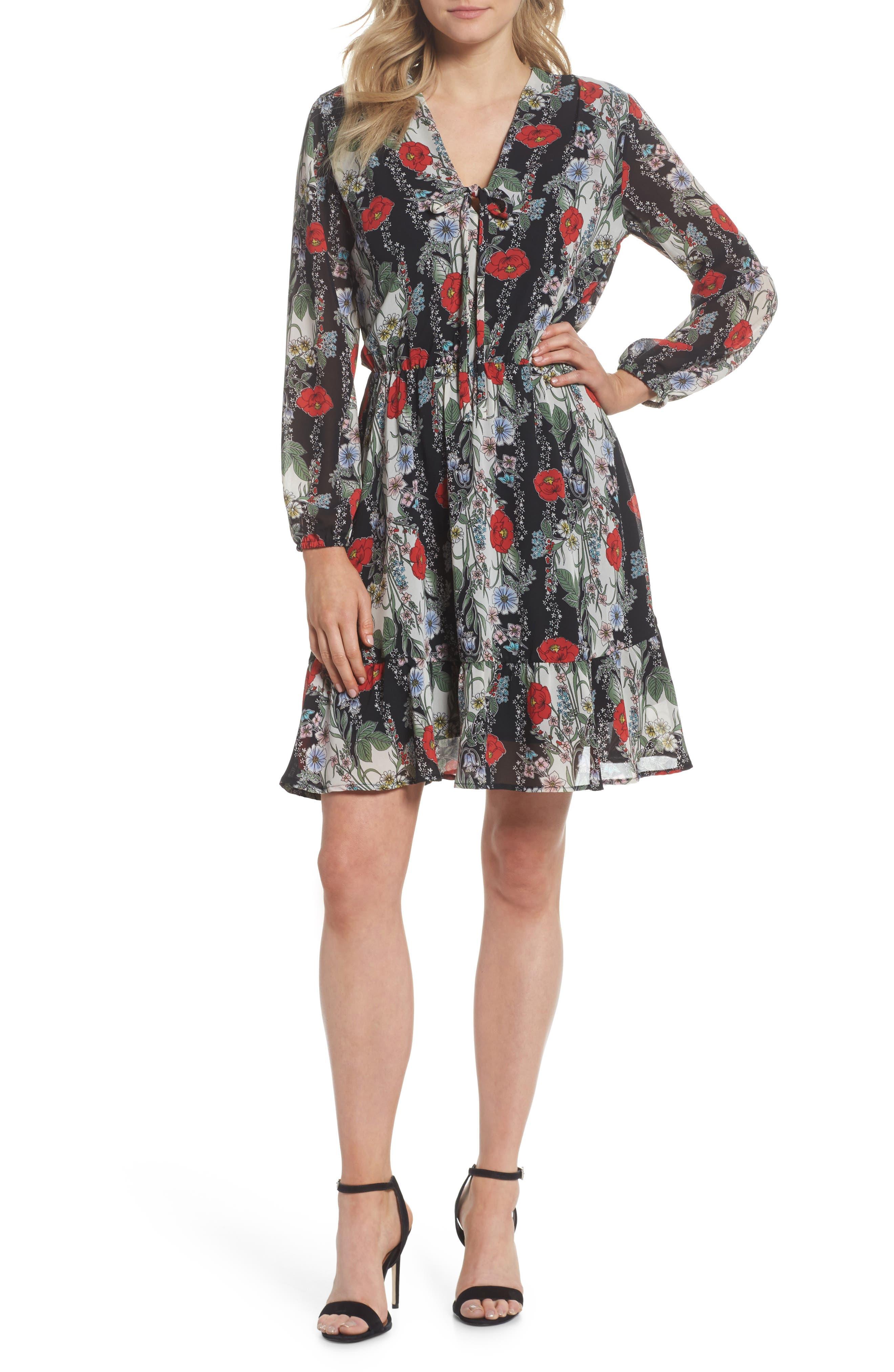 Lidia Tie Front Dress,                             Main thumbnail 1, color,                             LIDIA