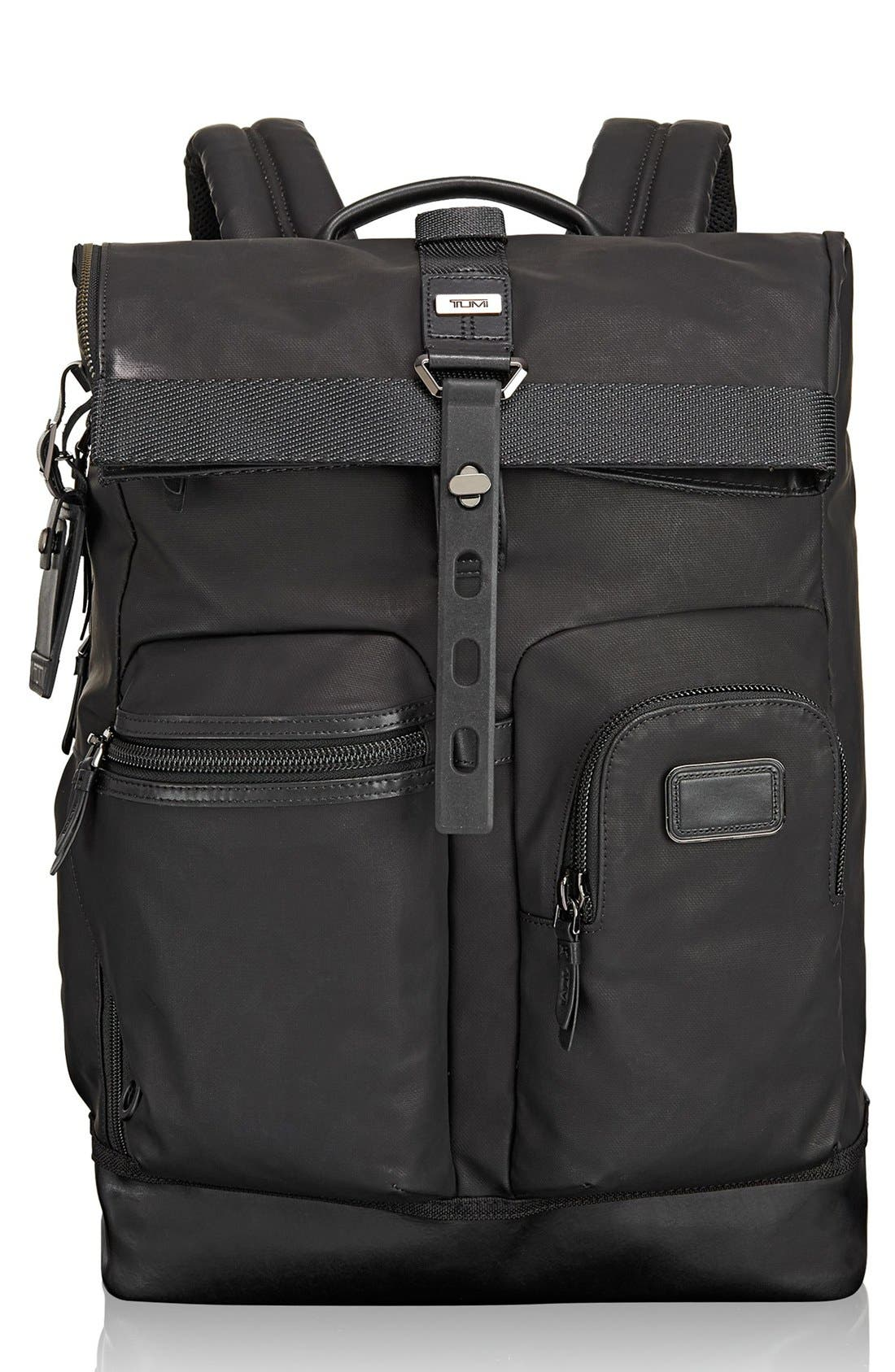 TUMI 'Alpha Bravo - Luke' Roll Top Backpack, Main, color, 001