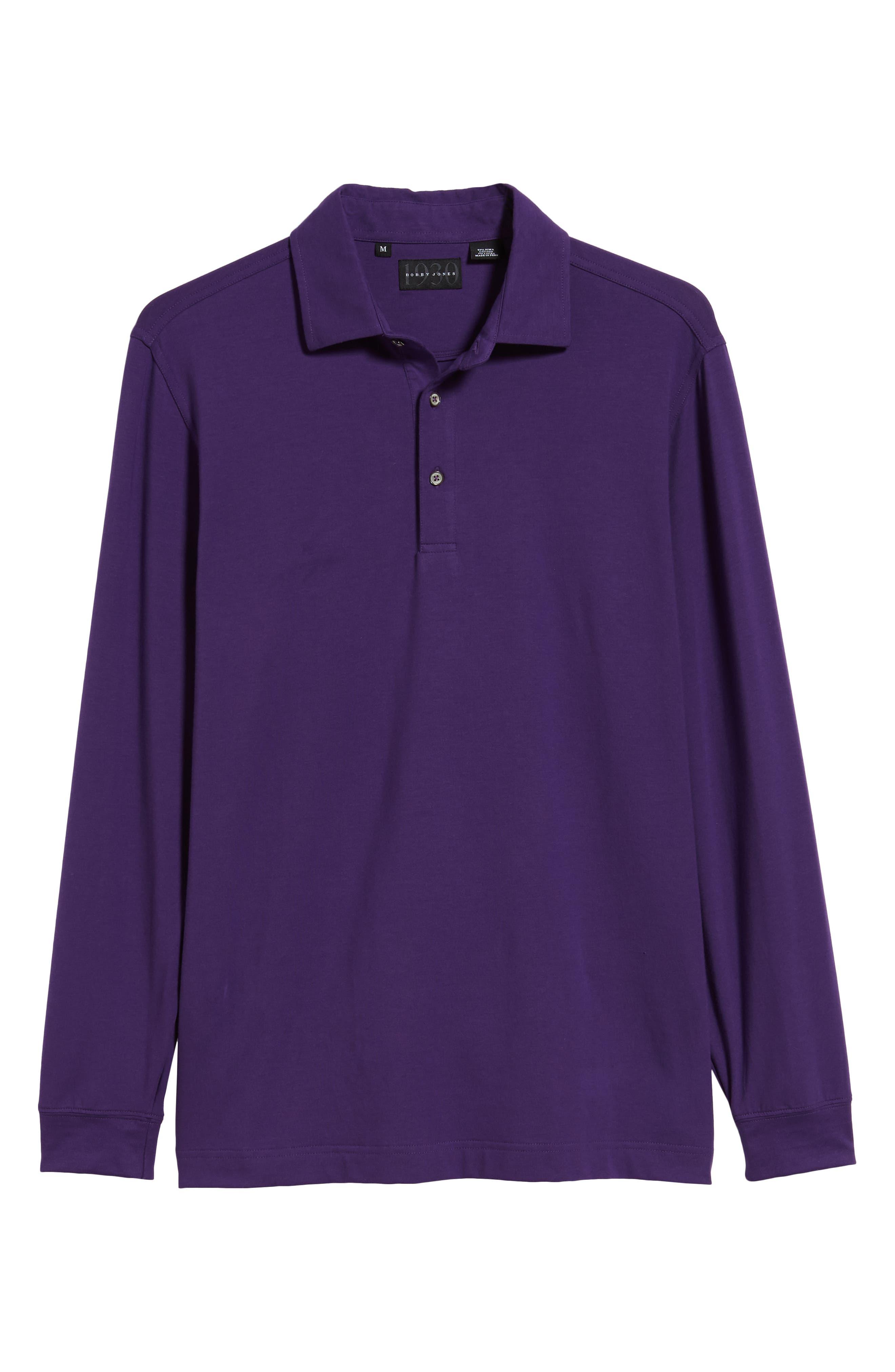 'Liquid Cotton' Long Sleeve Jersey Polo,                             Alternate thumbnail 6, color,                             PURPLE