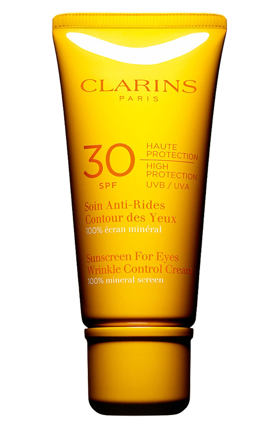 CLARINS,                             Sunscreen for Eyes Wrinkle Control Cream SPF 30,                             Main thumbnail 1, color,                             000