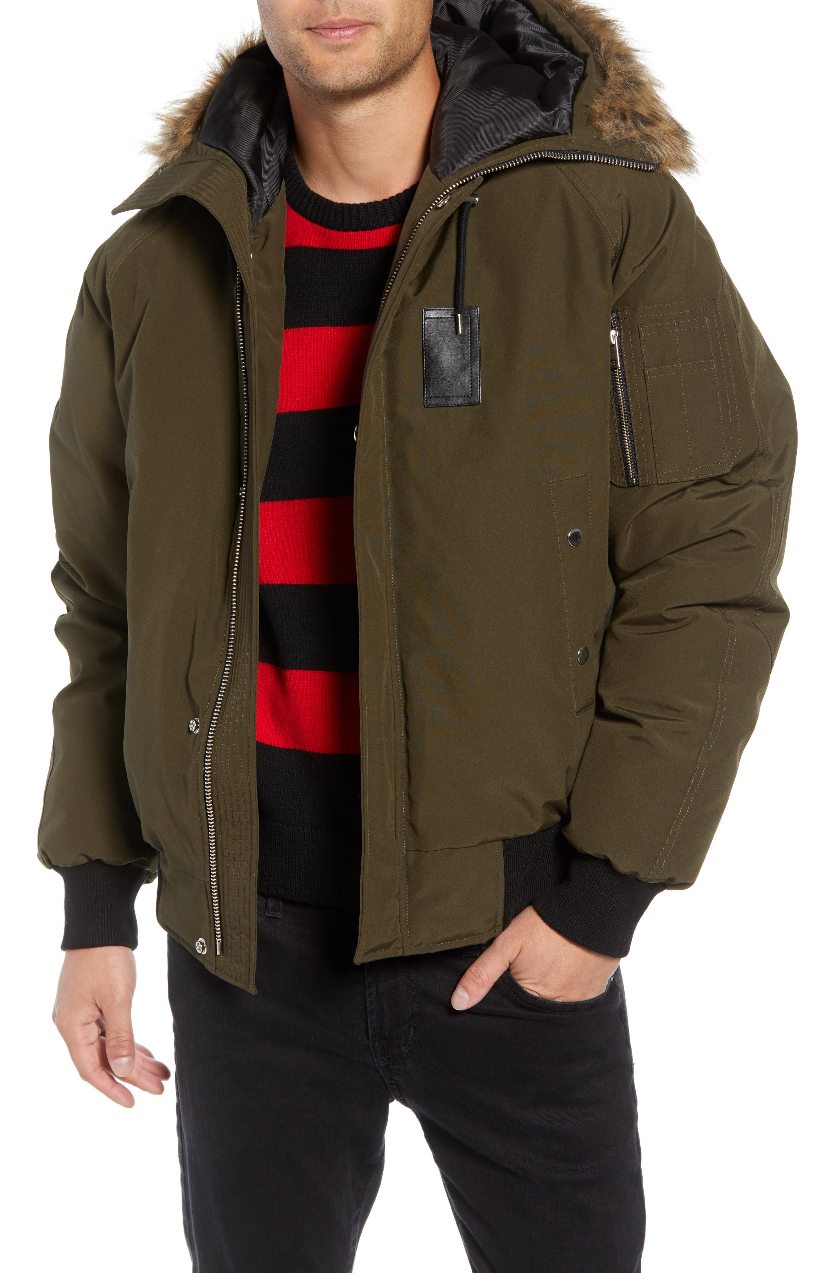 Down Hooded Jacket with Faux Fur Trim,                         Main,                         color, KHAKI