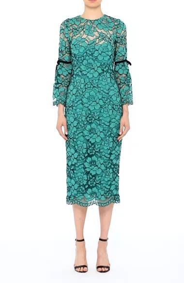 Lace Bell Sleeve Sheath Dress, video thumbnail