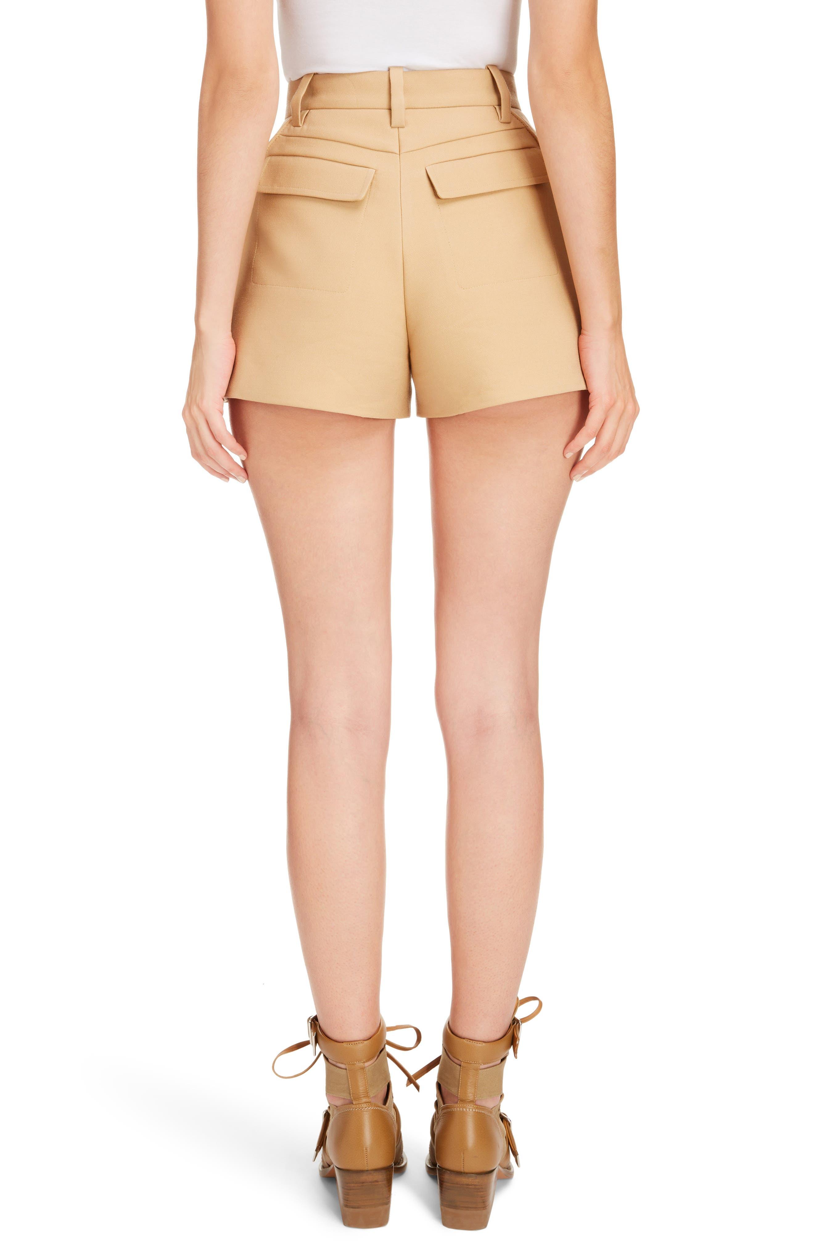 Side Pleat Wool & Silk Blend Shorts,                             Alternate thumbnail 2, color,