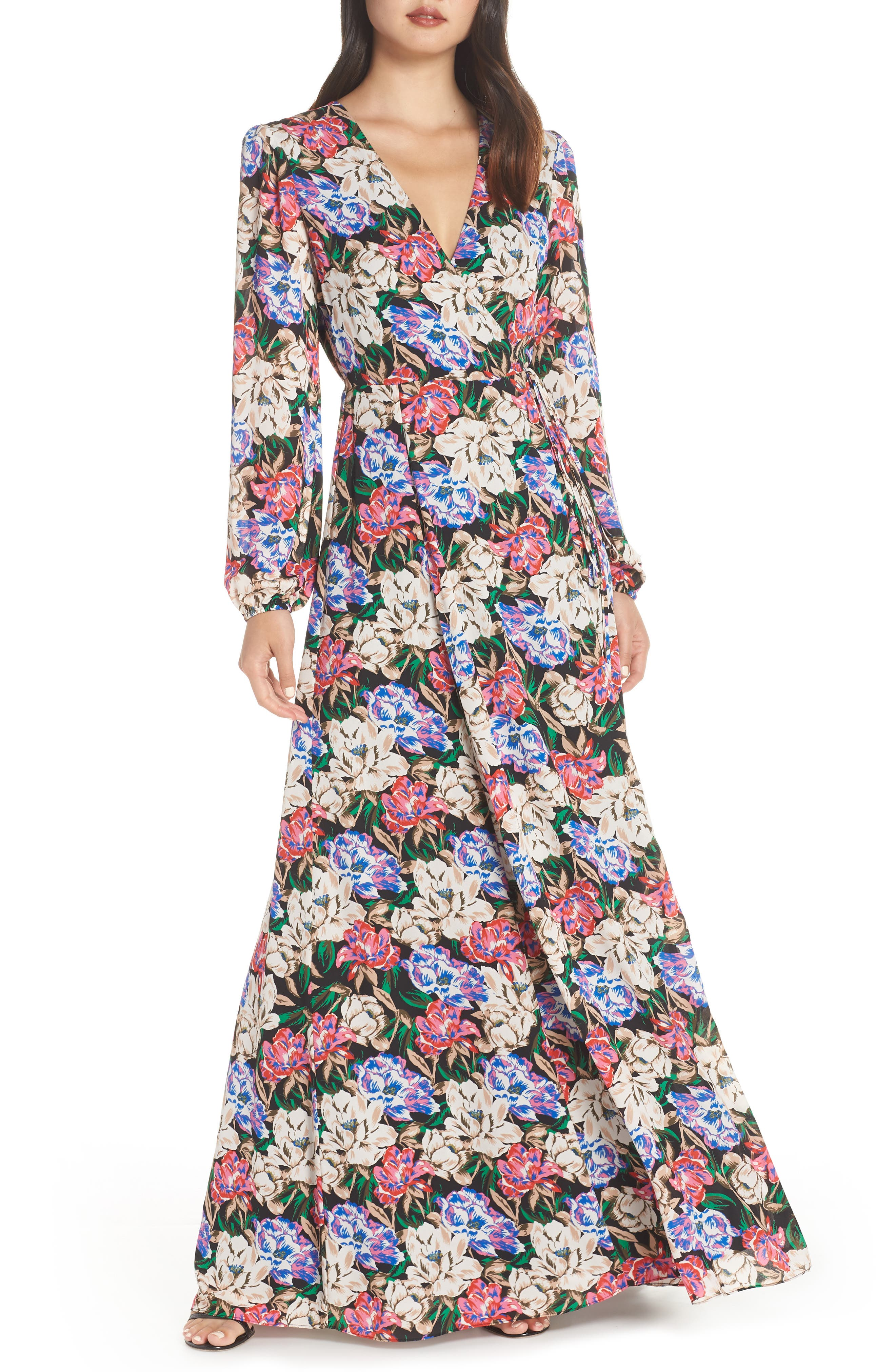 Lila Long Sleeve Wrap Gown,                             Main thumbnail 1, color,                             MIDNIGHT FLORAL