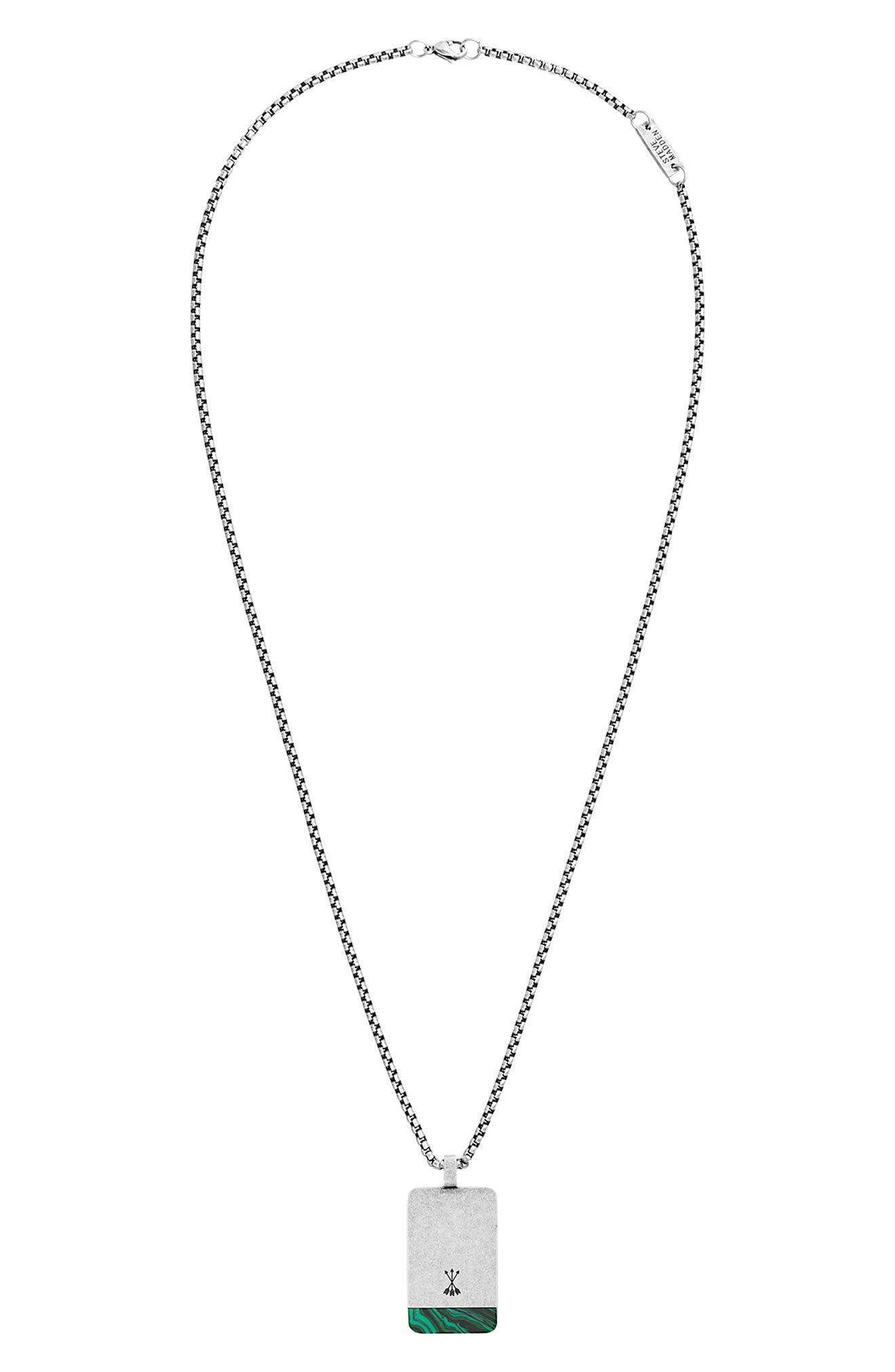 Dogtag Pendant Necklace,                             Main thumbnail 1, color,                             GREEN/ SILVER