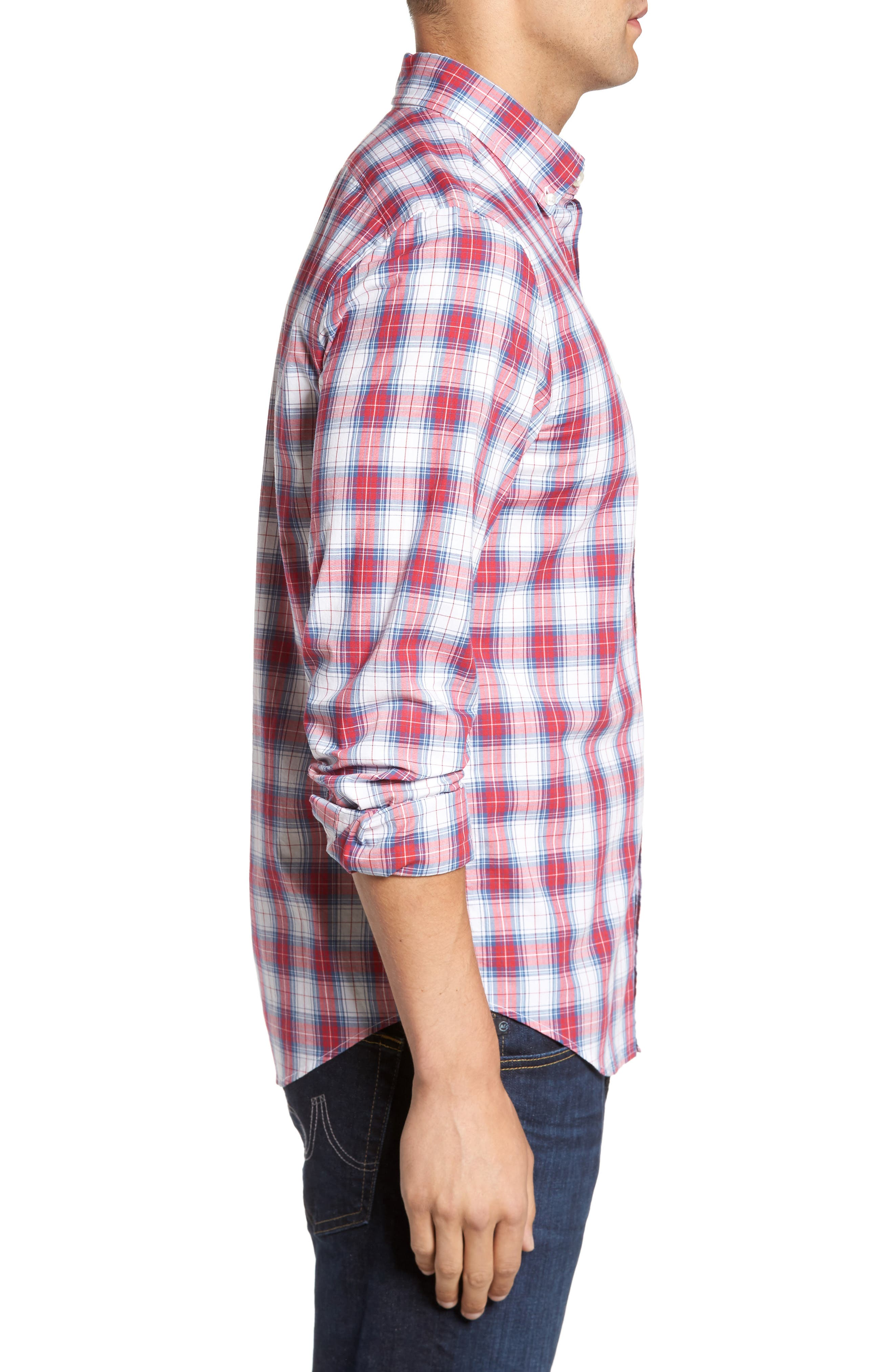 Murray Bucklin Point Slim Fit Plaid Sport Shirt,                             Alternate thumbnail 3, color,