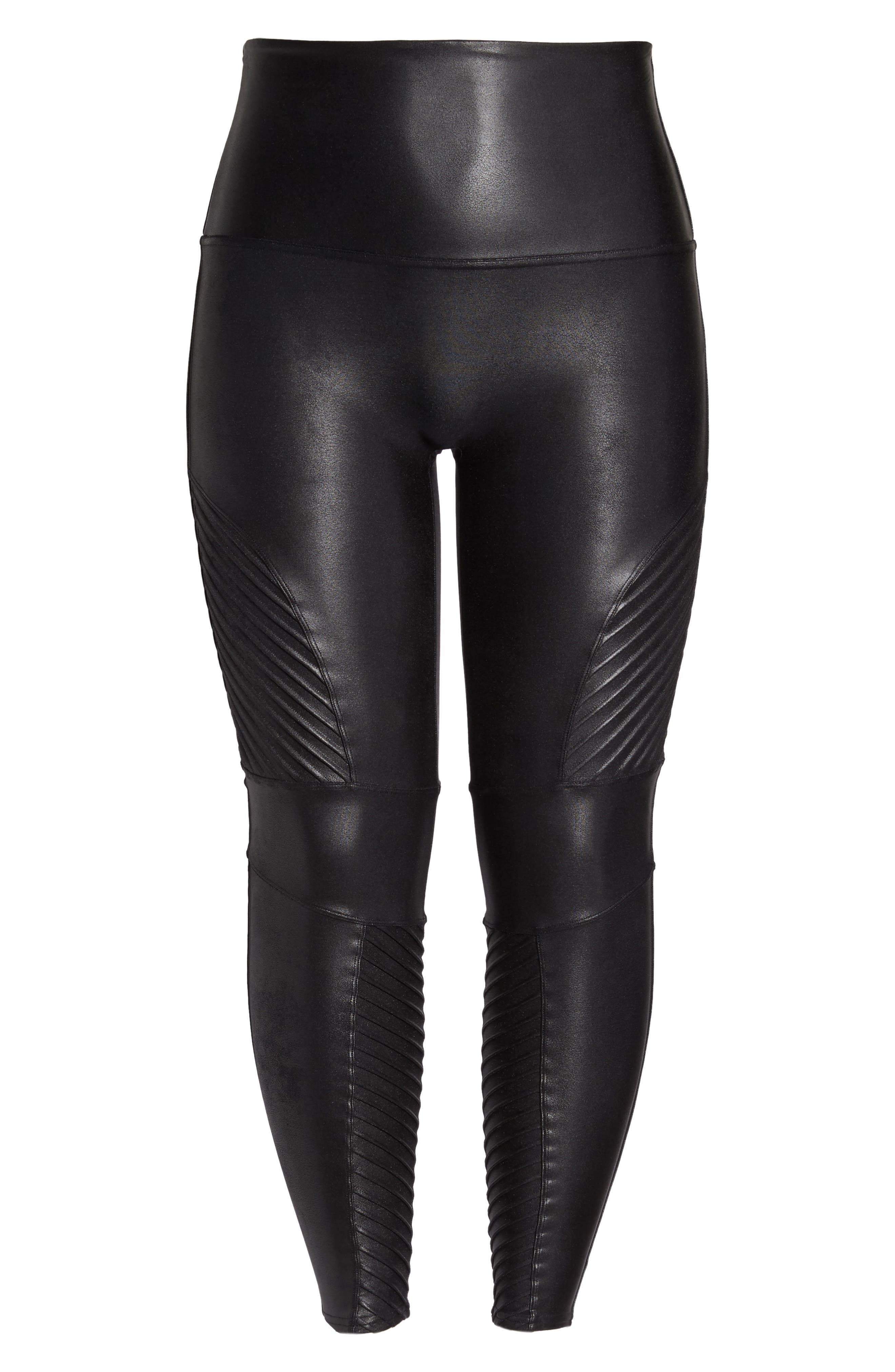 High Waist Moto Leggings,                             Alternate thumbnail 6, color,                             VERY BLACK