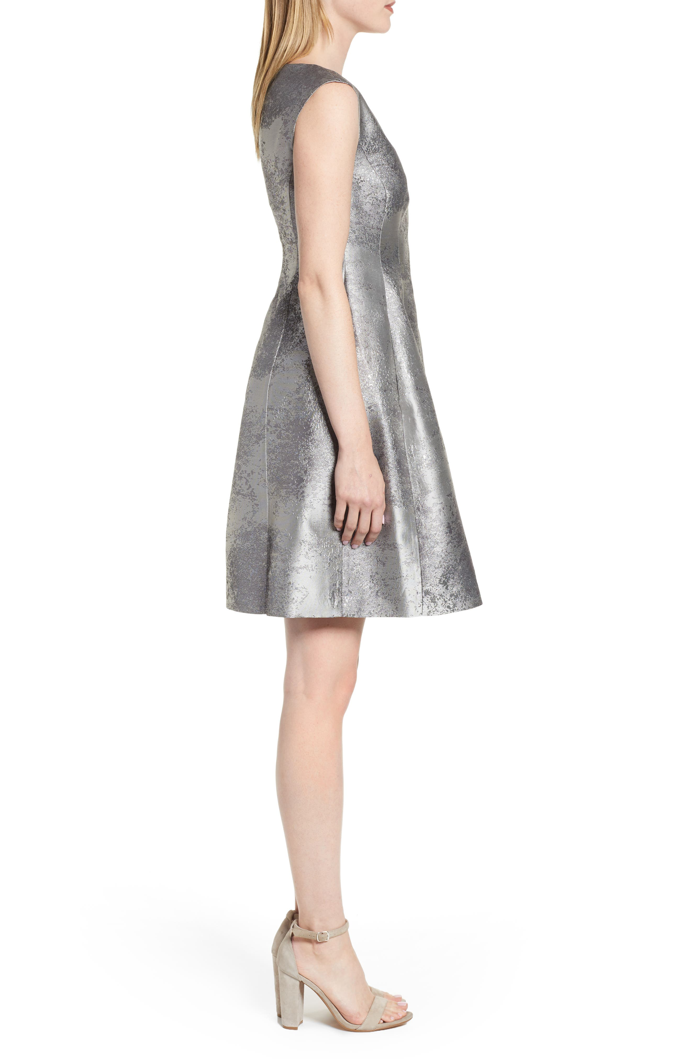 ANNE KLEIN,                             Satin Jacquard Fit & Flare Dress,                             Alternate thumbnail 3, color,                             SILVER COMBO