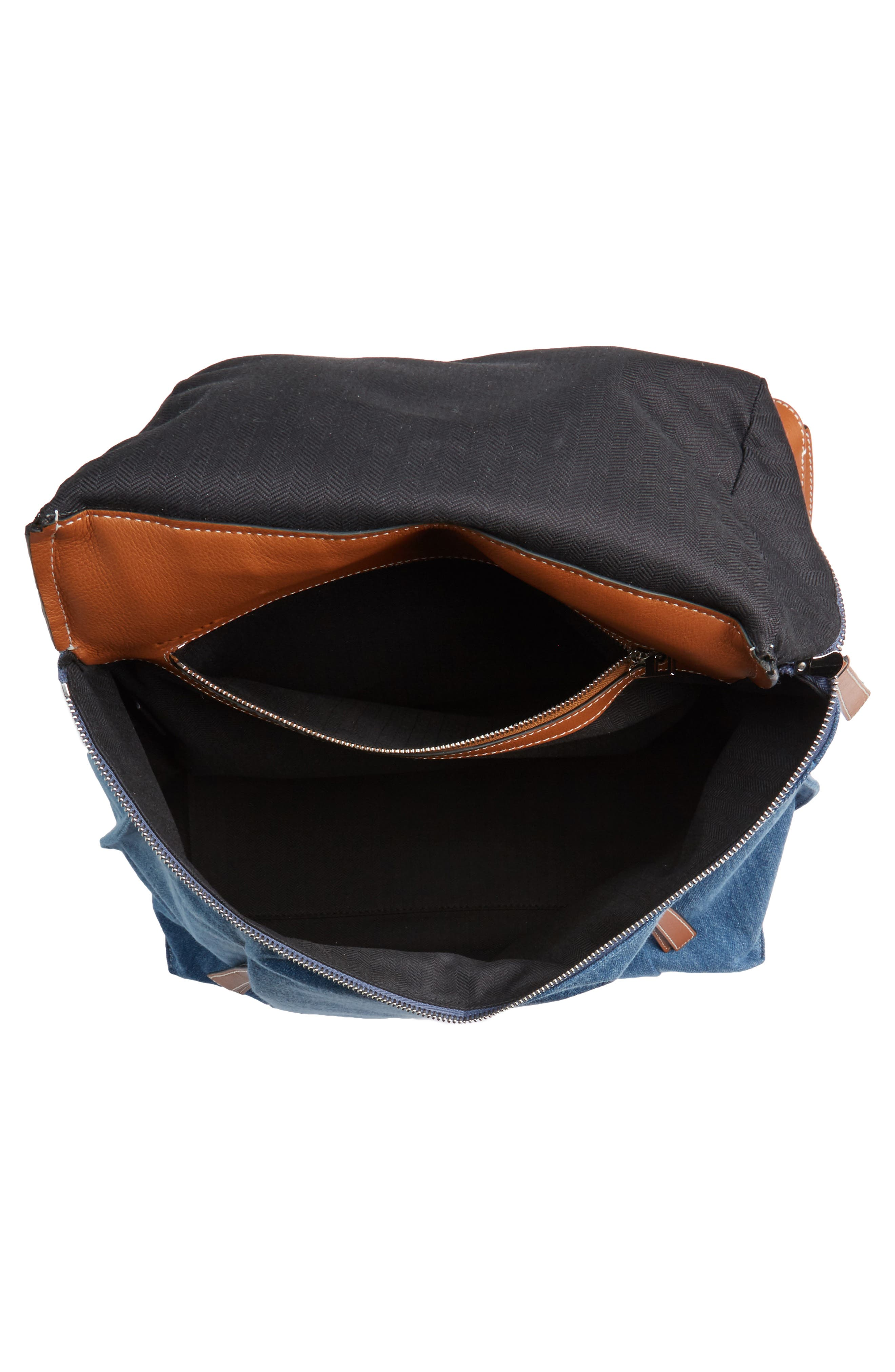 T Small Denim & Leather Backpack,                             Alternate thumbnail 5, color,                             476