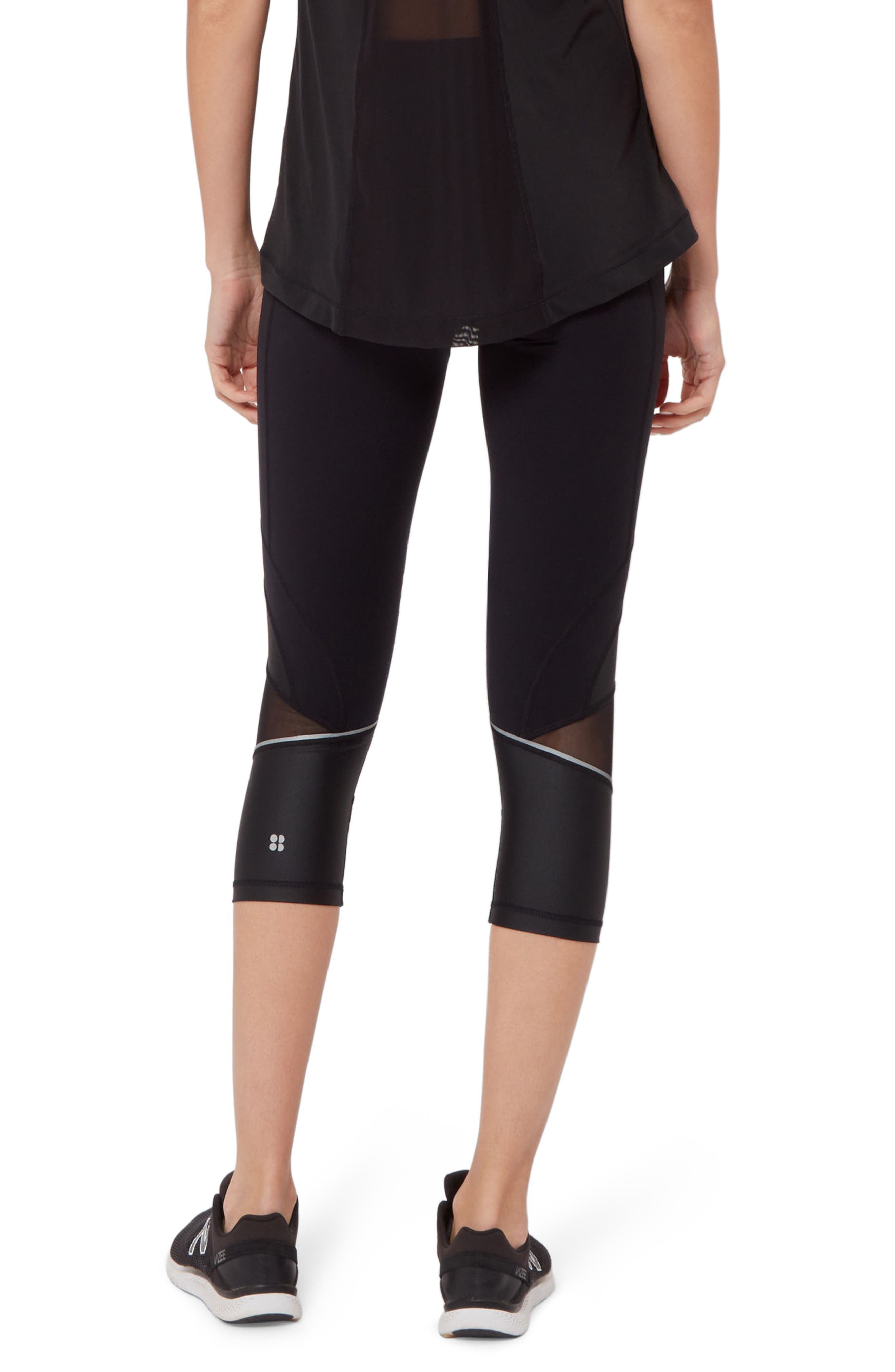Power Wetlook Mesh 7/8 Workout Leggings,                             Alternate thumbnail 3, color,                             BLACK