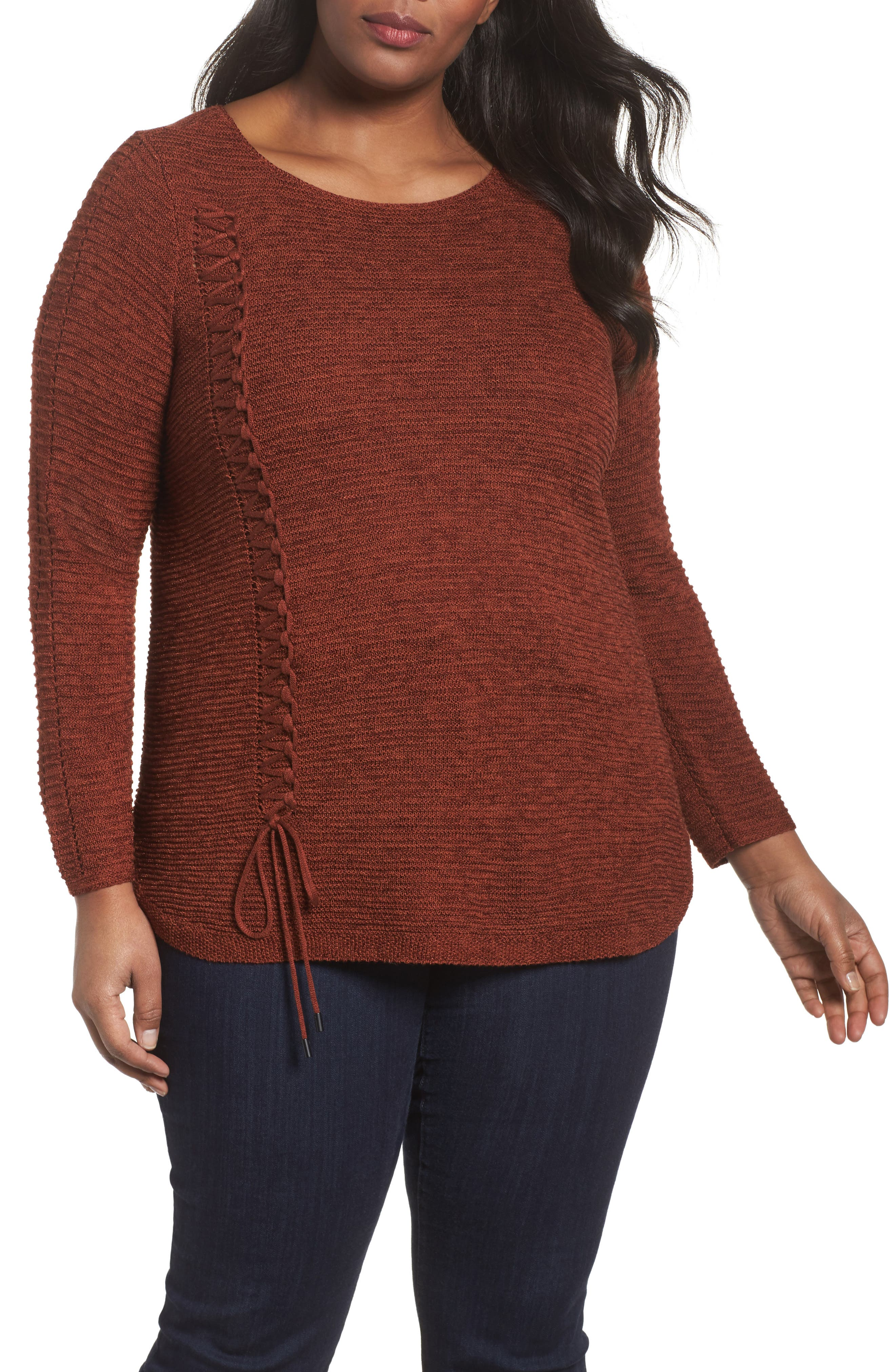 Braided Up Sweater,                             Main thumbnail 1, color,                             BRANDY