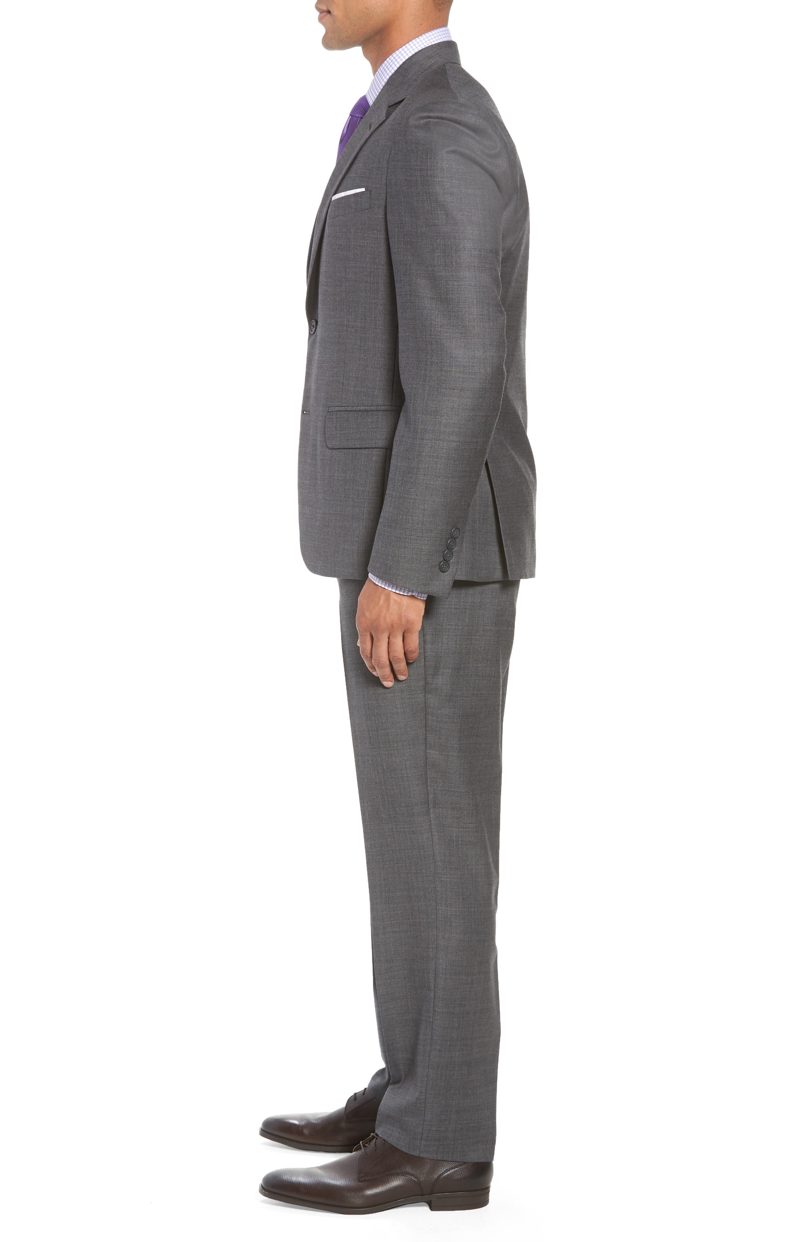 Trim Fit Sharkskin Wool Suit,                             Alternate thumbnail 3, color,                             MID GREY