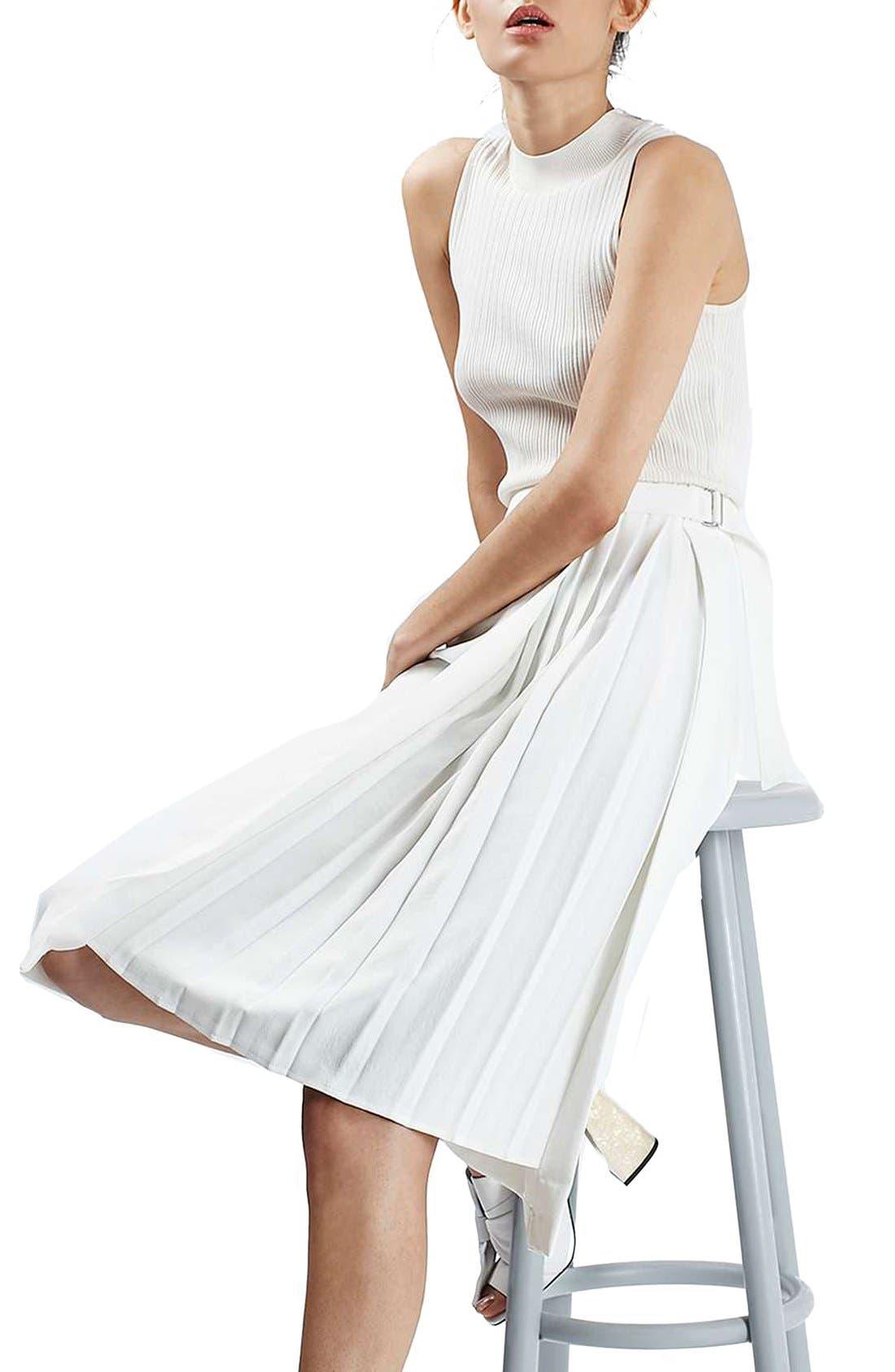 Pleat Detail Wrap Midi Skirt,                             Alternate thumbnail 4, color,                             900