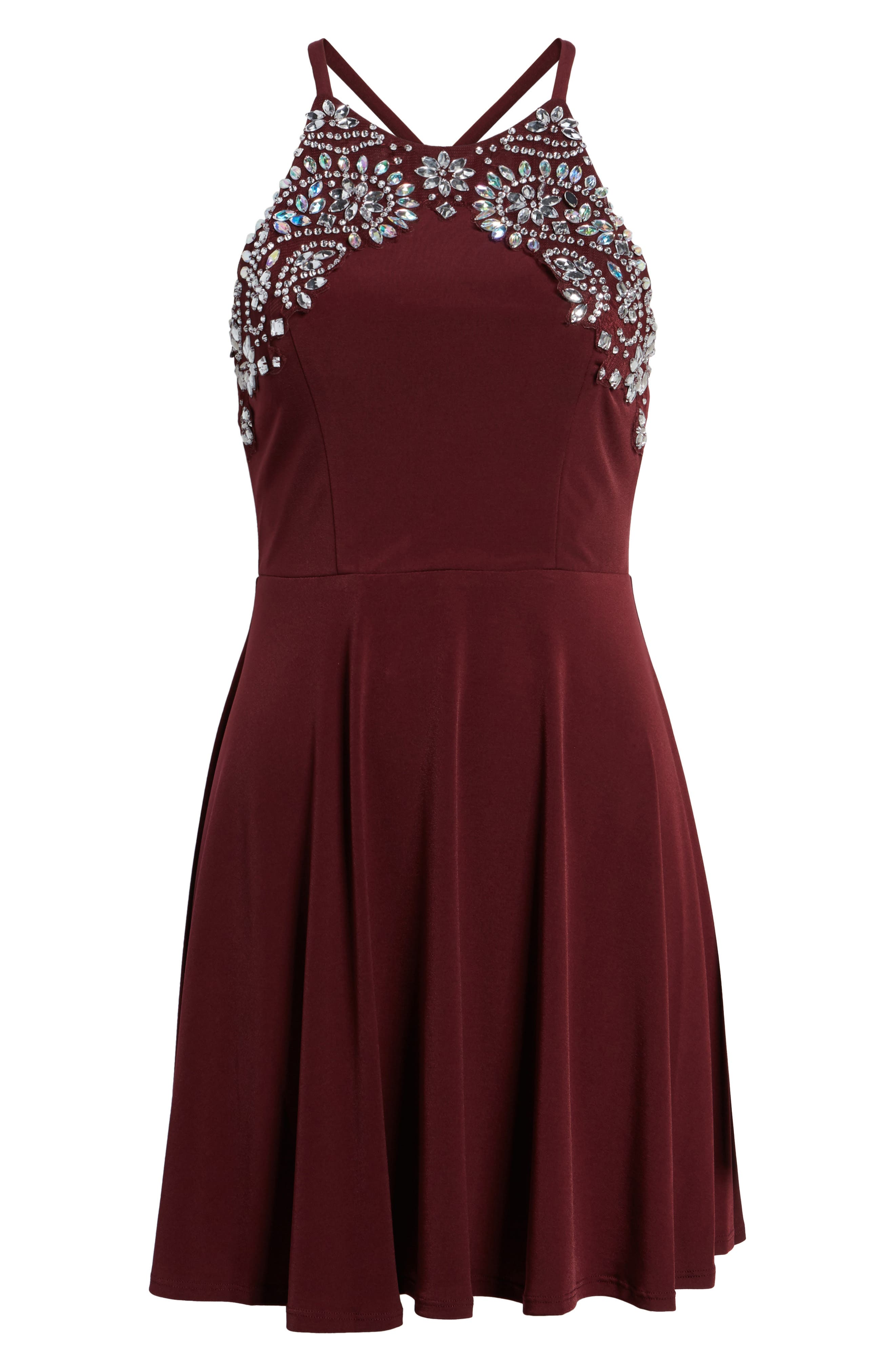 Crystal Halter Dress,                             Alternate thumbnail 6, color,                             WINE