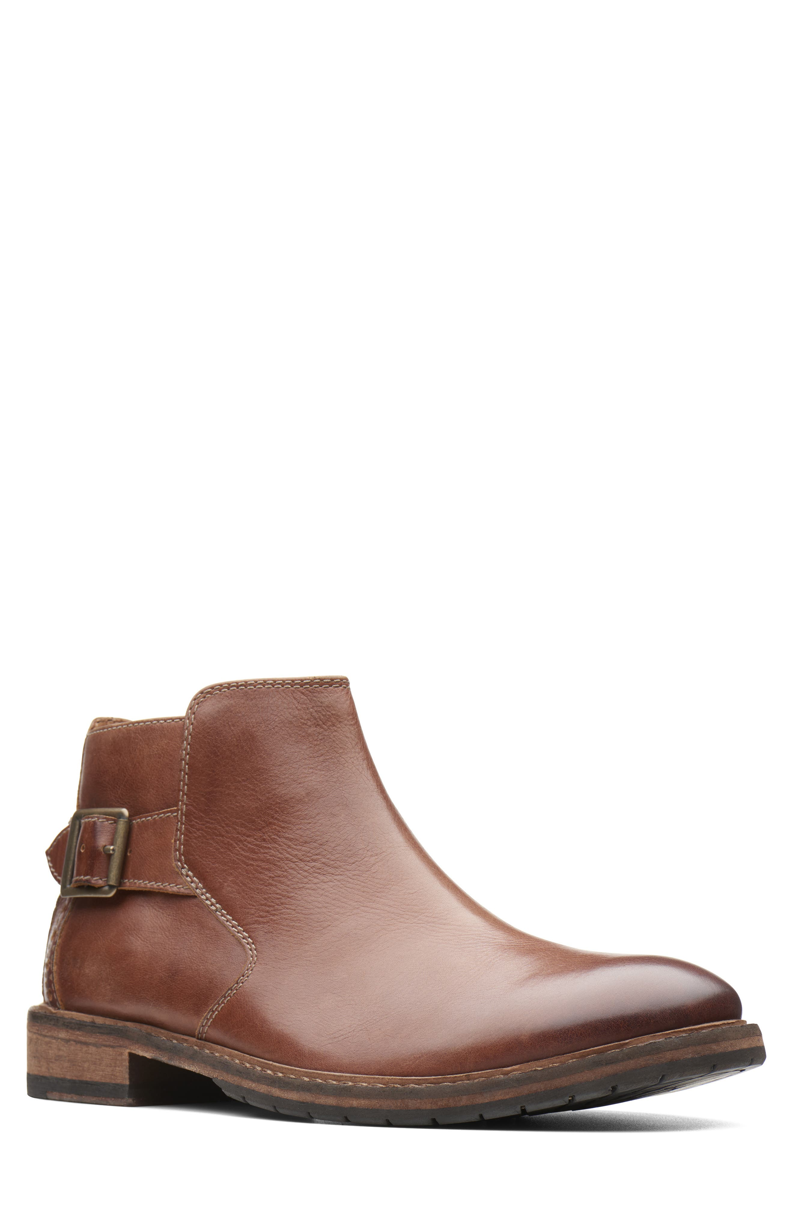 Clarkdale Remi Ankle Boot,                         Main,                         color, DARK TAN LEATHER