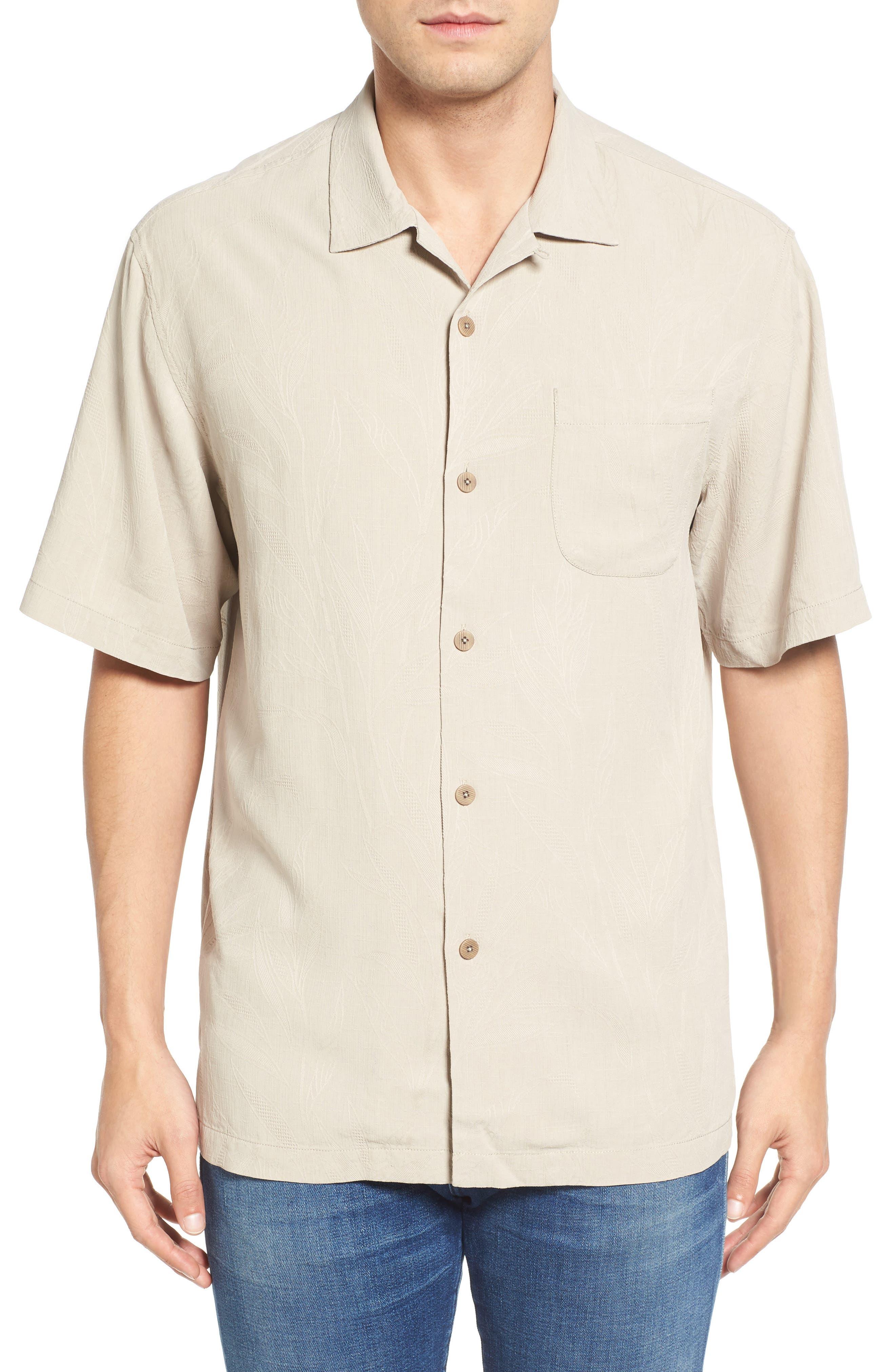 Islander Fronds Silk Camp Shirt,                             Main thumbnail 4, color,