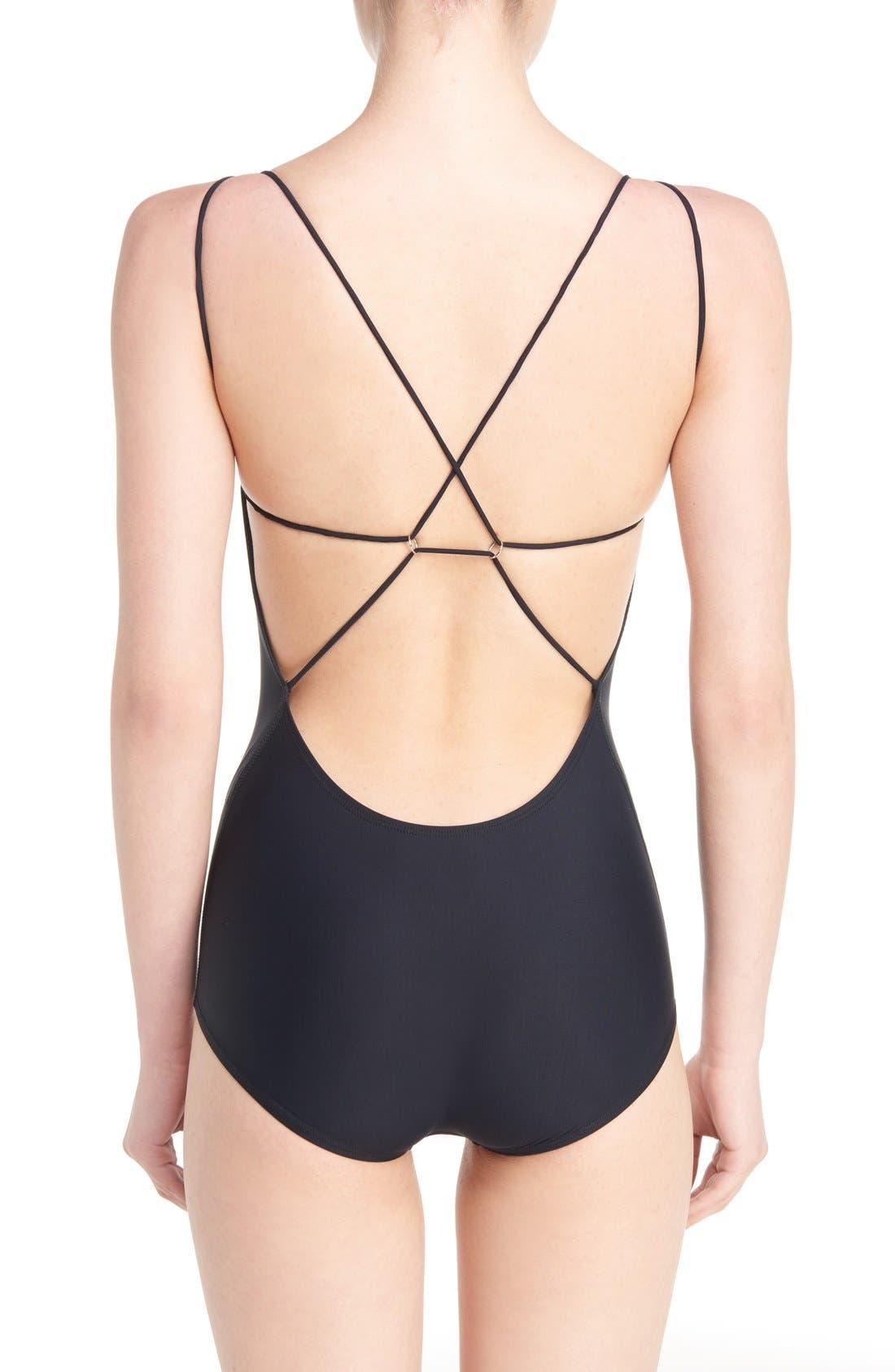 Halla One-Piece Swimsuit,                             Alternate thumbnail 2, color,                             BLACK