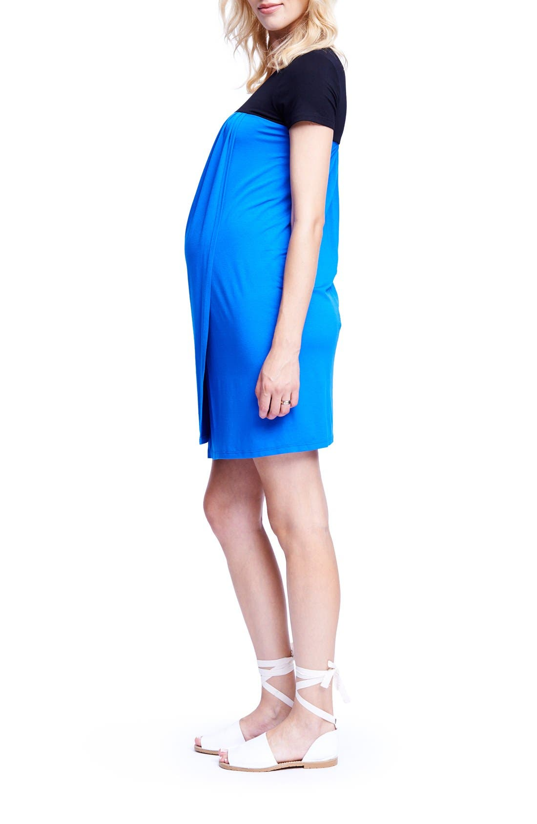 MATERNAL AMERICA,                             Babydoll Maternity/Nursing Dress,                             Alternate thumbnail 3, color,                             BLACK/ ROYAL BLUE