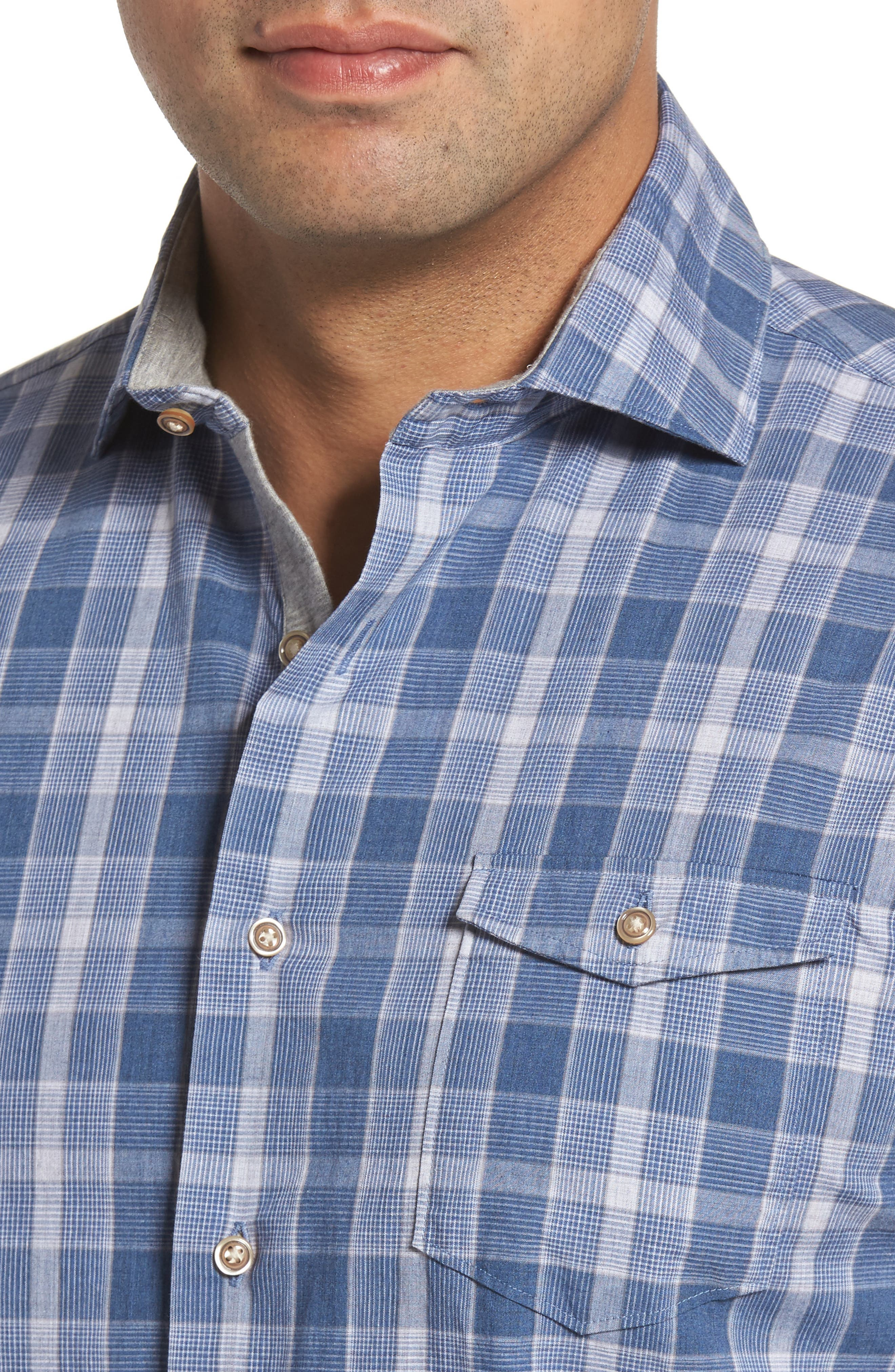 Highlands Classic Fit Plaid Sport Shirt,                             Alternate thumbnail 4, color,                             464