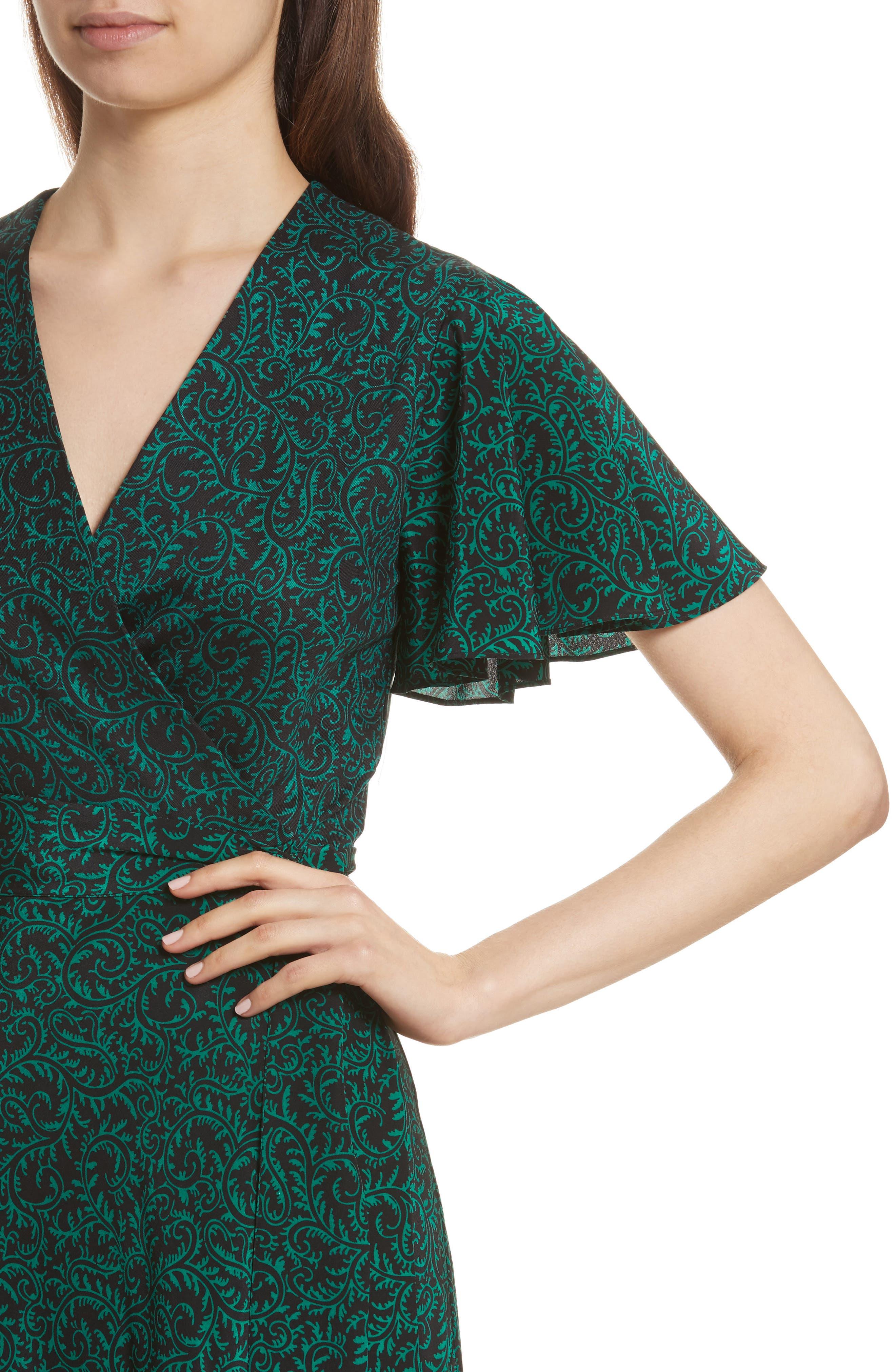 Diane von Furstenberg Flutter Sleeve Silk Wrap Dress,                             Alternate thumbnail 15, color,