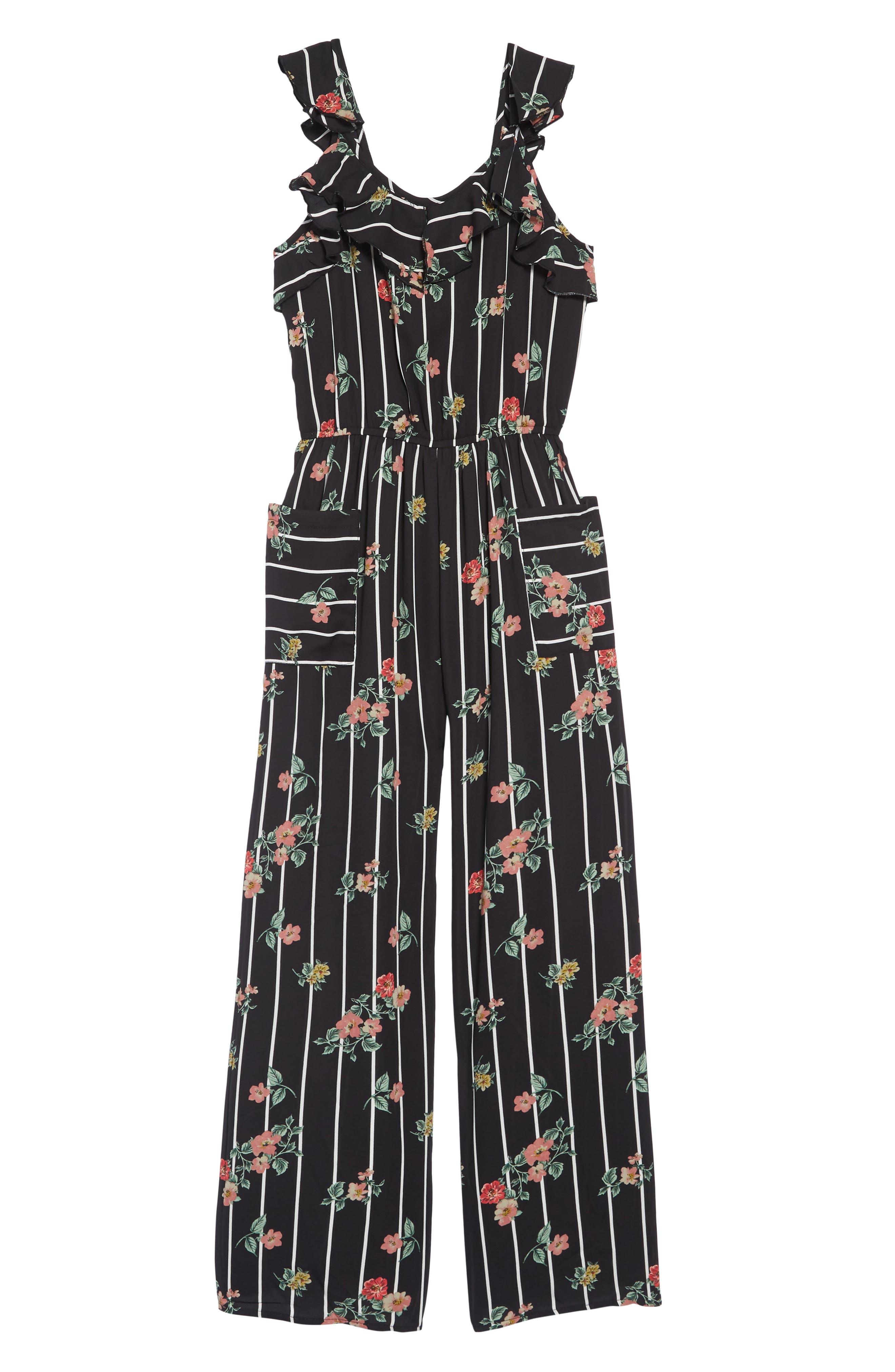 TRULY ME,                             Floral Jumpsuit,                             Main thumbnail 1, color,                             BLACK MULTI