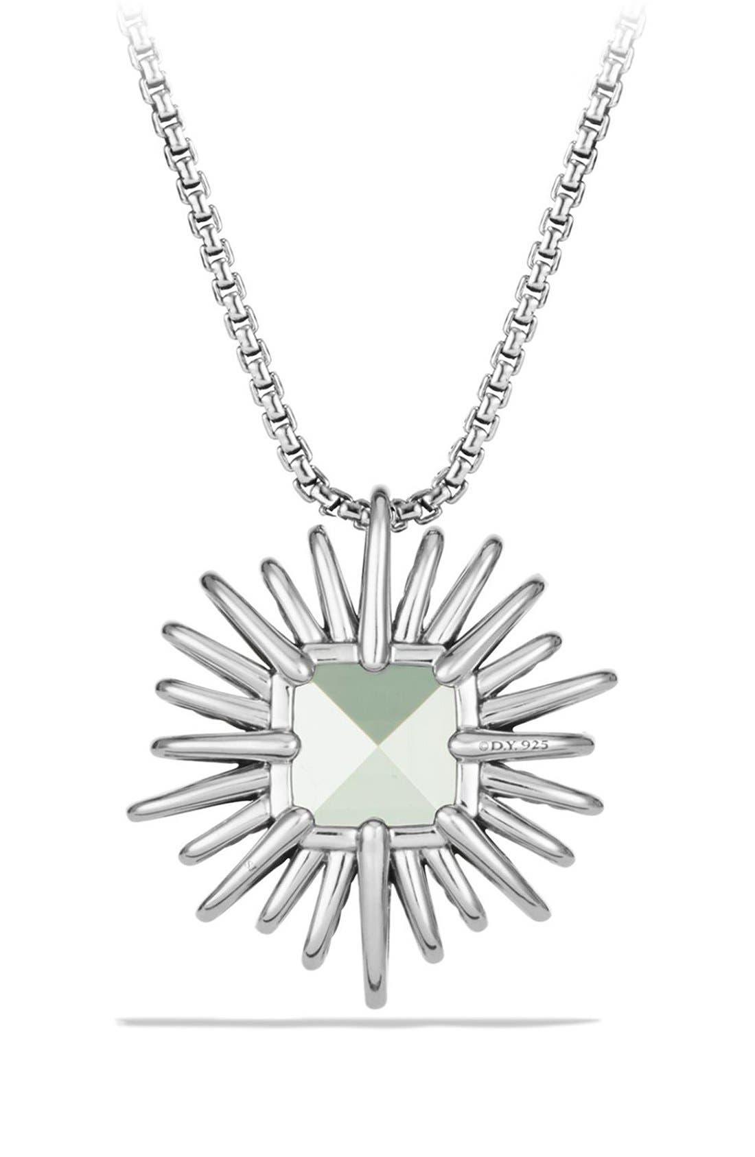 'Starburst' Necklace with Diamonds in Silver,                             Alternate thumbnail 3, color,                             PRASIOLITE