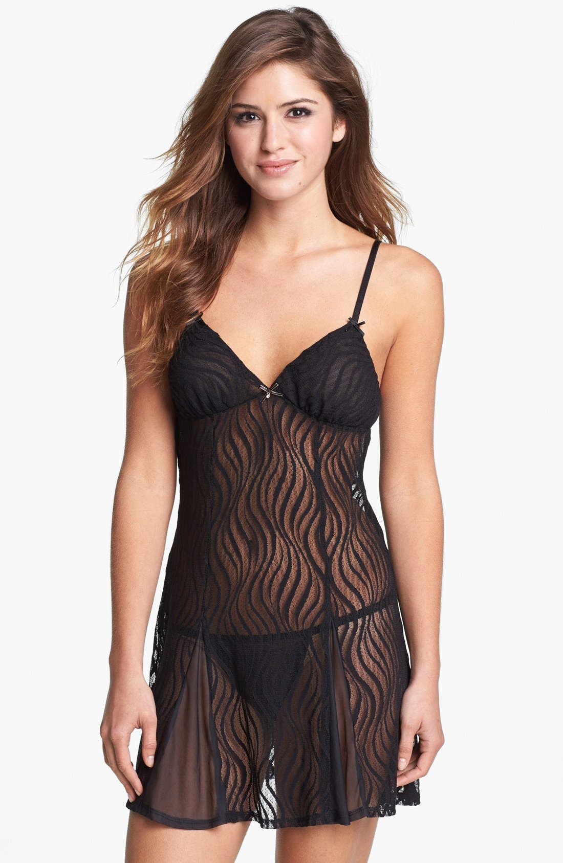 Sheer Lace Slip,                             Main thumbnail 1, color,                             001