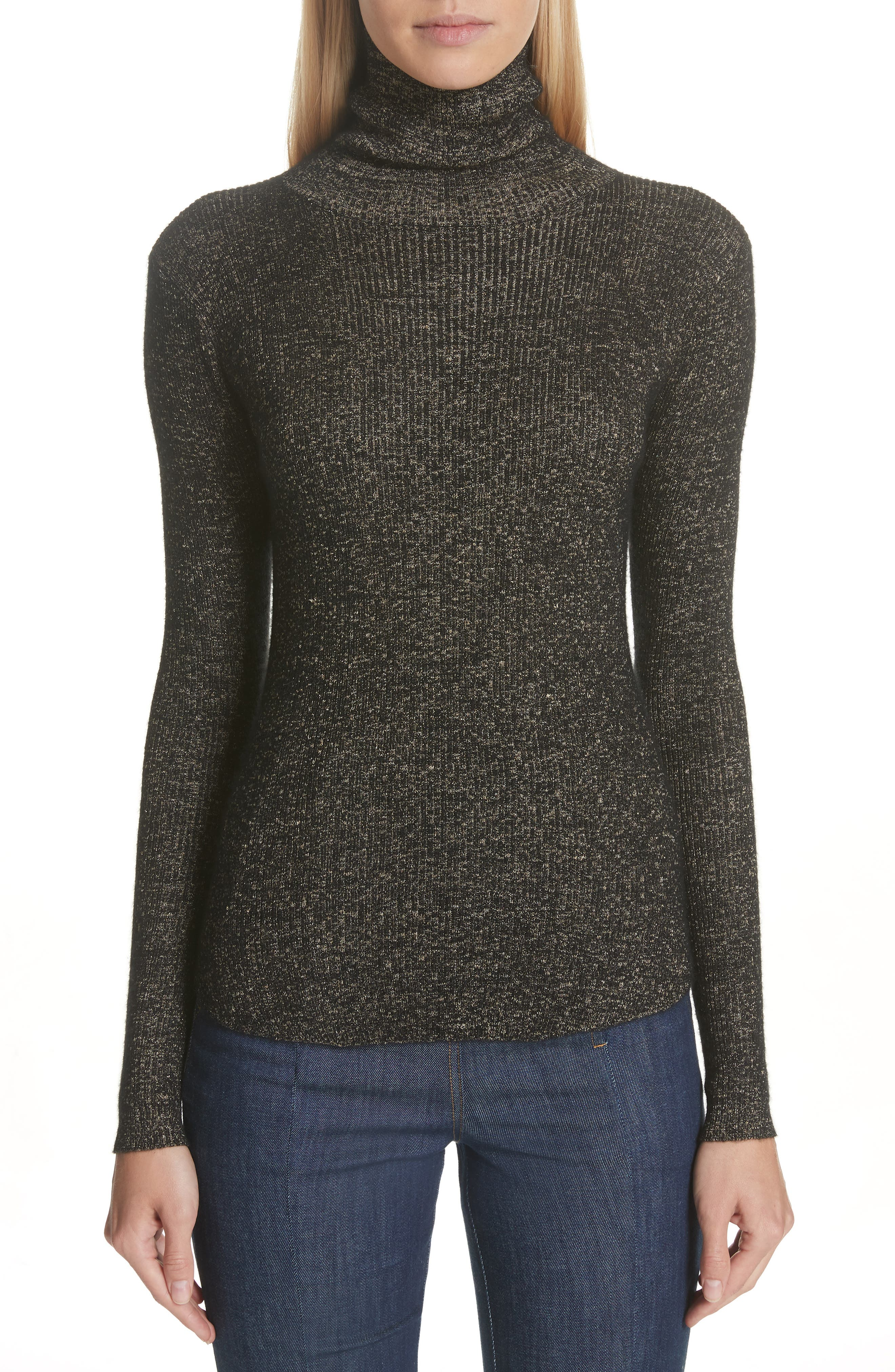 Mars Metallic Cashmere Blend Turtleneck Sweater in Charcoal
