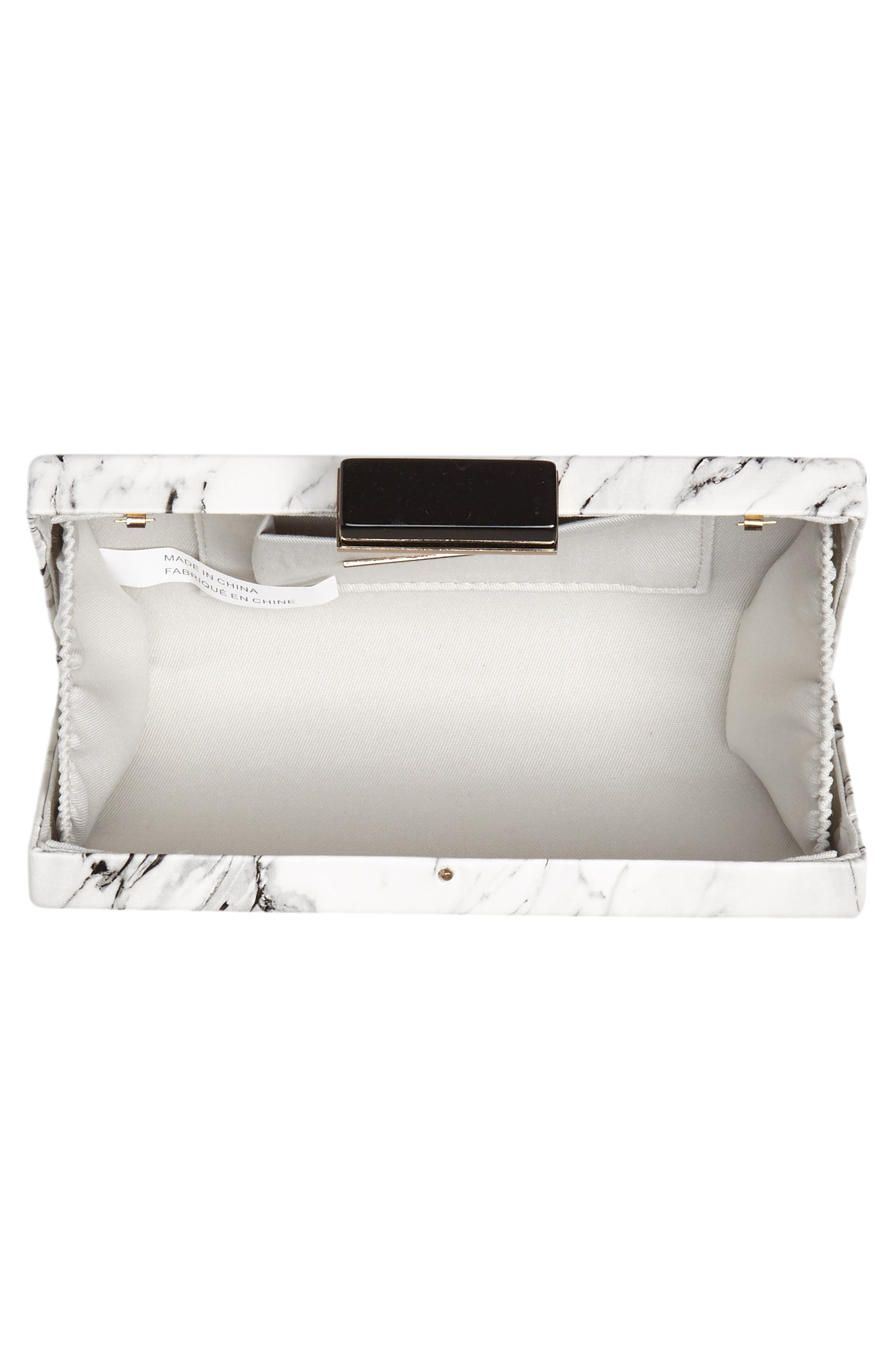 Marble Print Faux Leather Box Clutch,                             Alternate thumbnail 4, color,                             WHITE