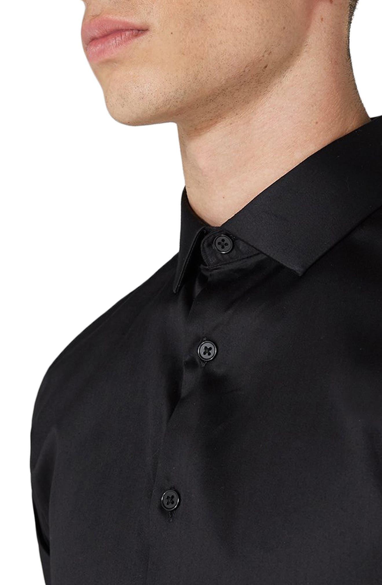 Muscle Fit Satin Shirt,                             Alternate thumbnail 2, color,                             BLACK