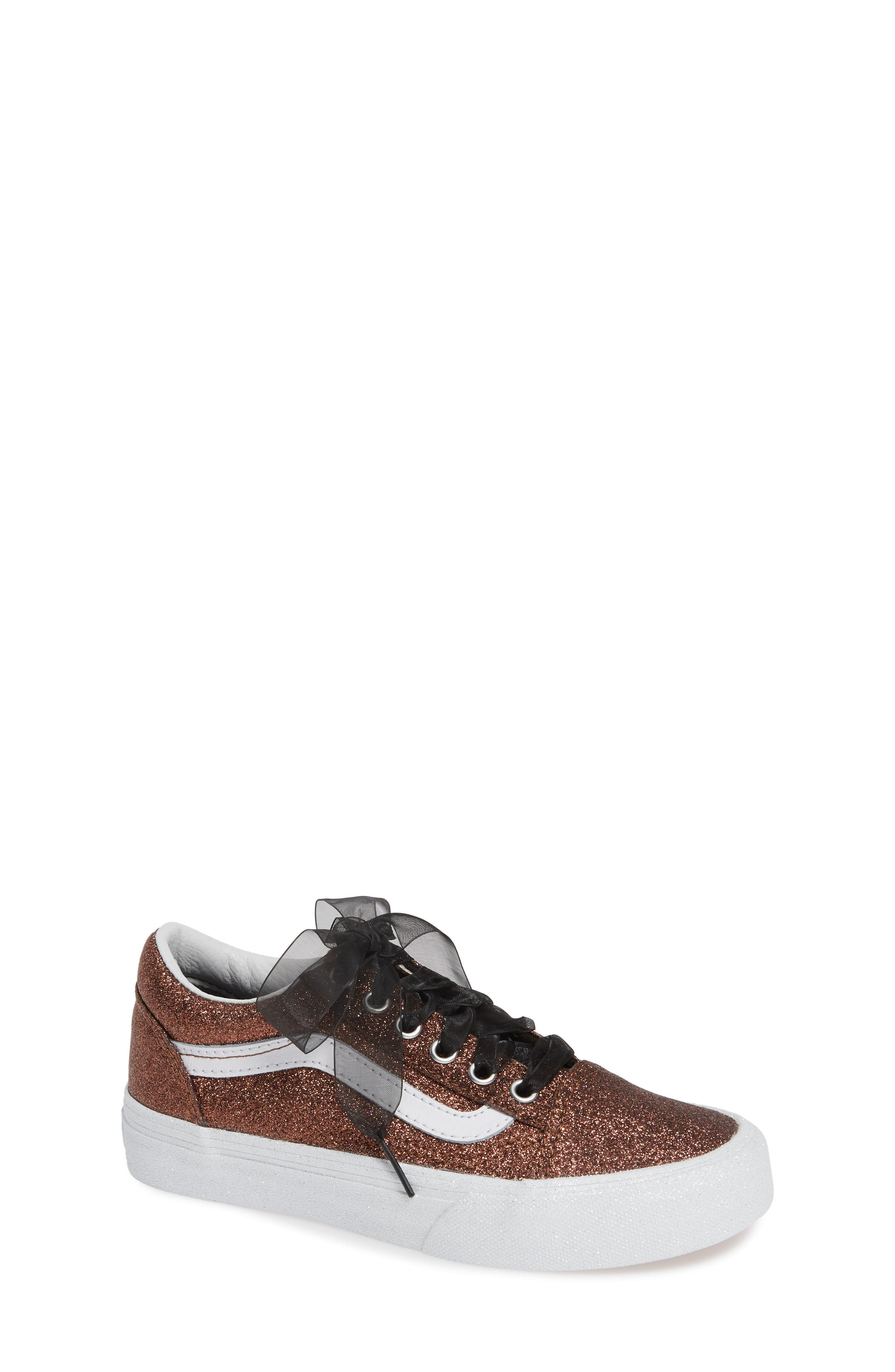 Old Skool Sneaker,                             Main thumbnail 1, color,                             BRONZE/ TRUE WHITE TEXTILE
