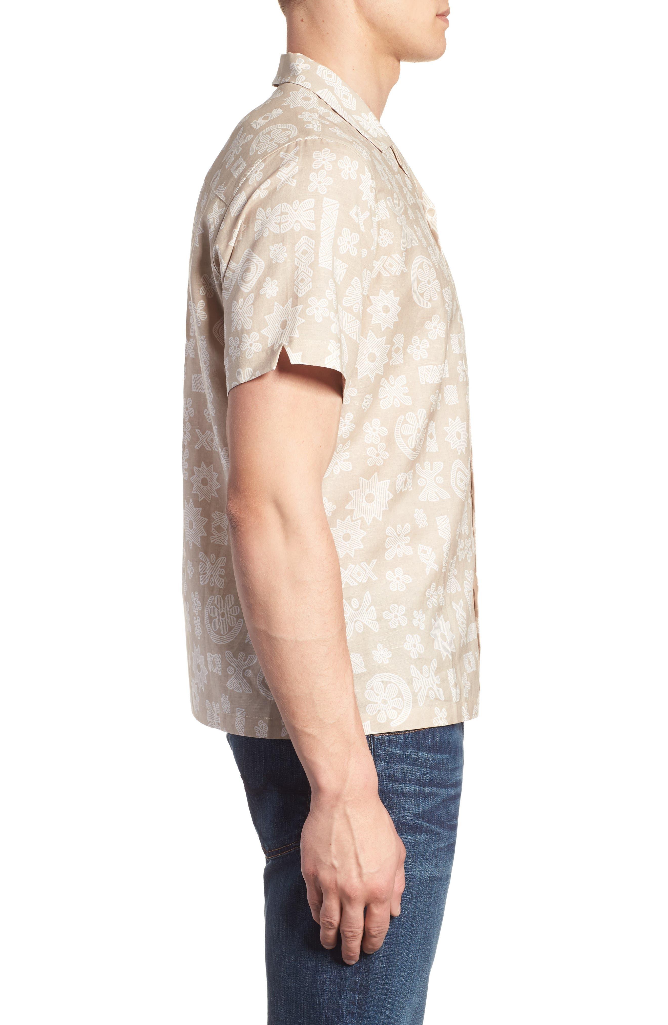 TORI RICHARD,                             Tapa Twist Trim Fit Linen & Cotton Camp Shirt,                             Alternate thumbnail 3, color,                             290