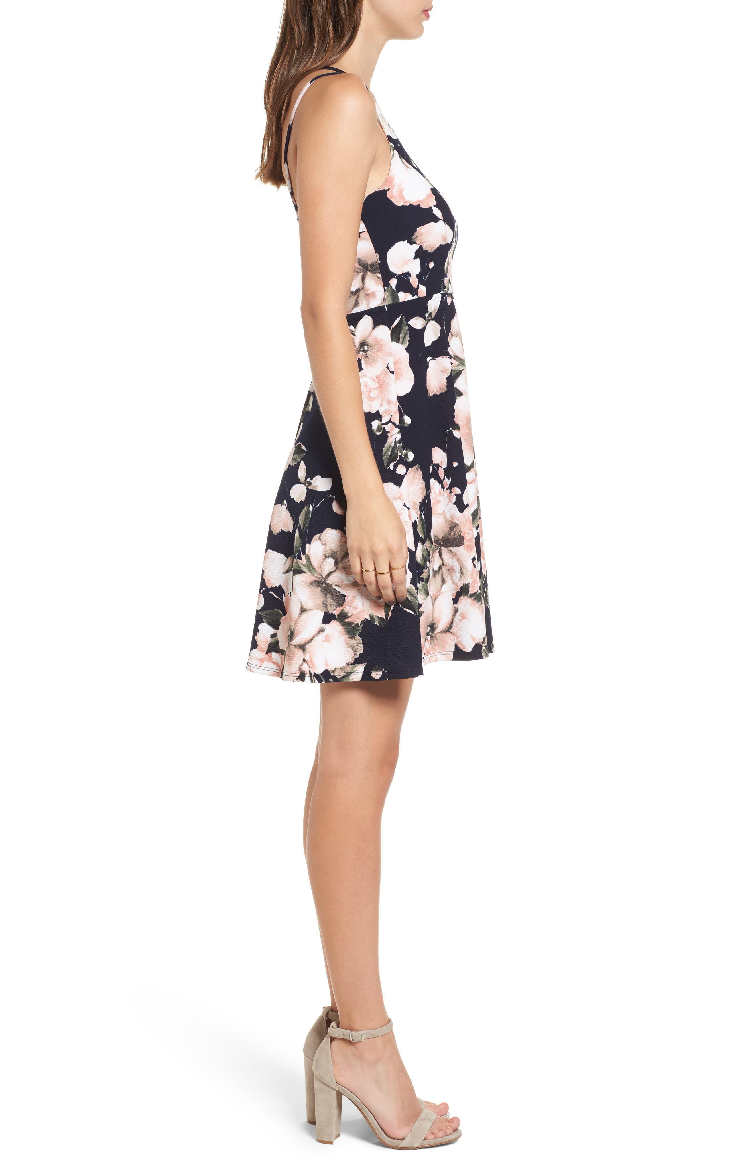 Floral Print Skater Dress,                             Alternate thumbnail 3, color,                             410